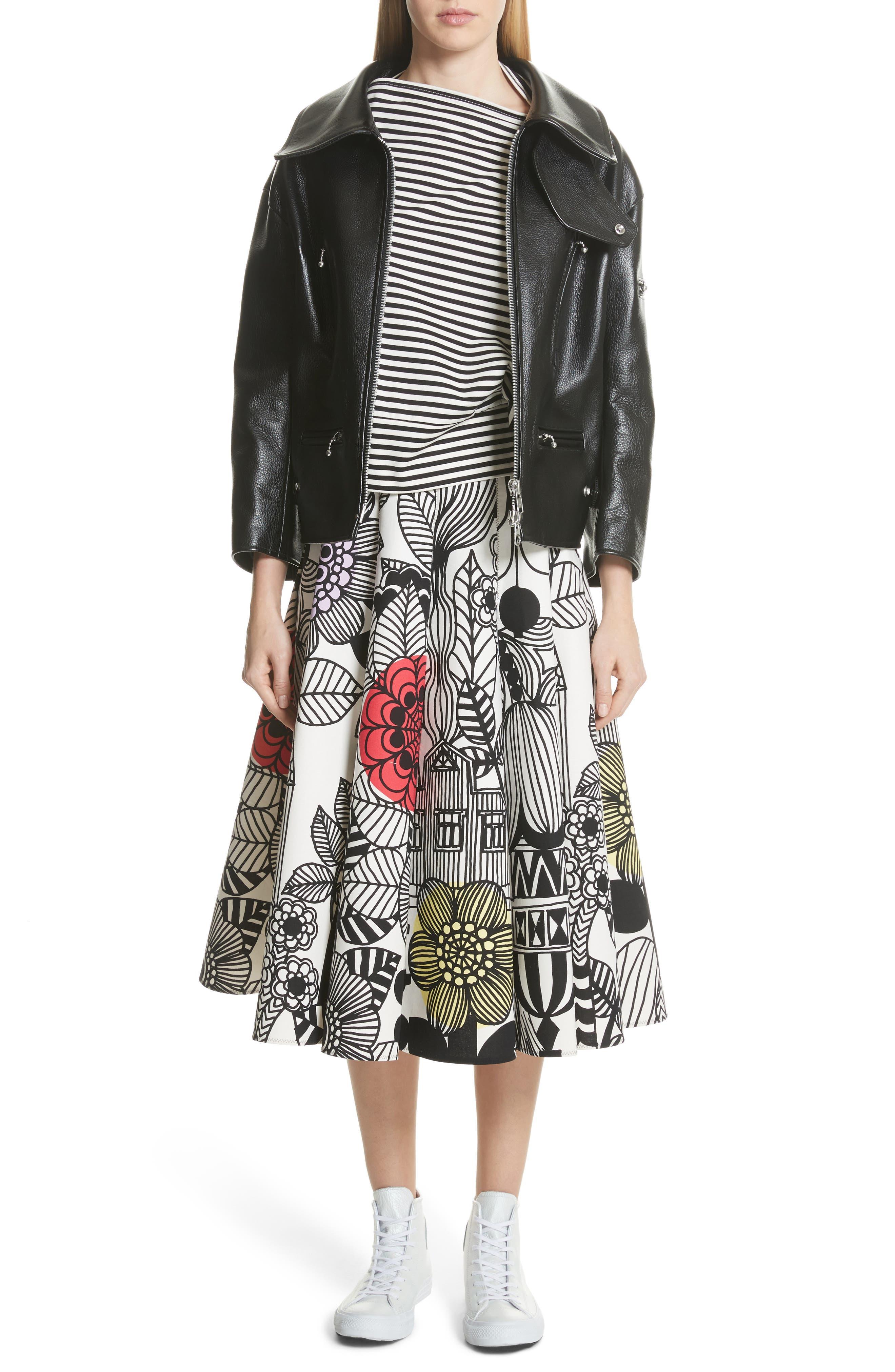 x Marimekko Vegetable Print Cotton Skirt,                             Alternate thumbnail 7, color,                             Wht/ Blk/ Ylw