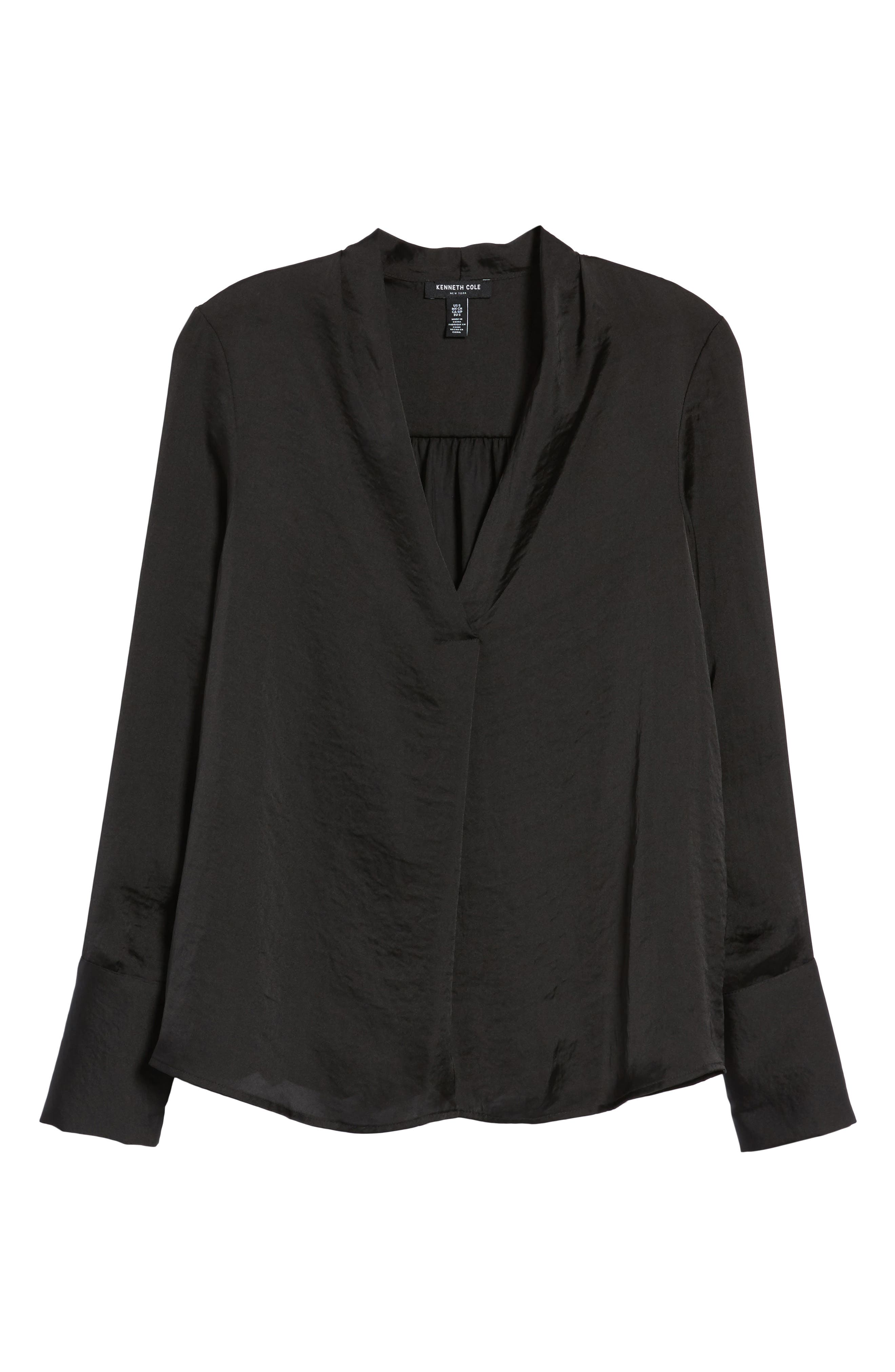 Crinkle Long Sleeve Blouse,                             Alternate thumbnail 7, color,                             Black