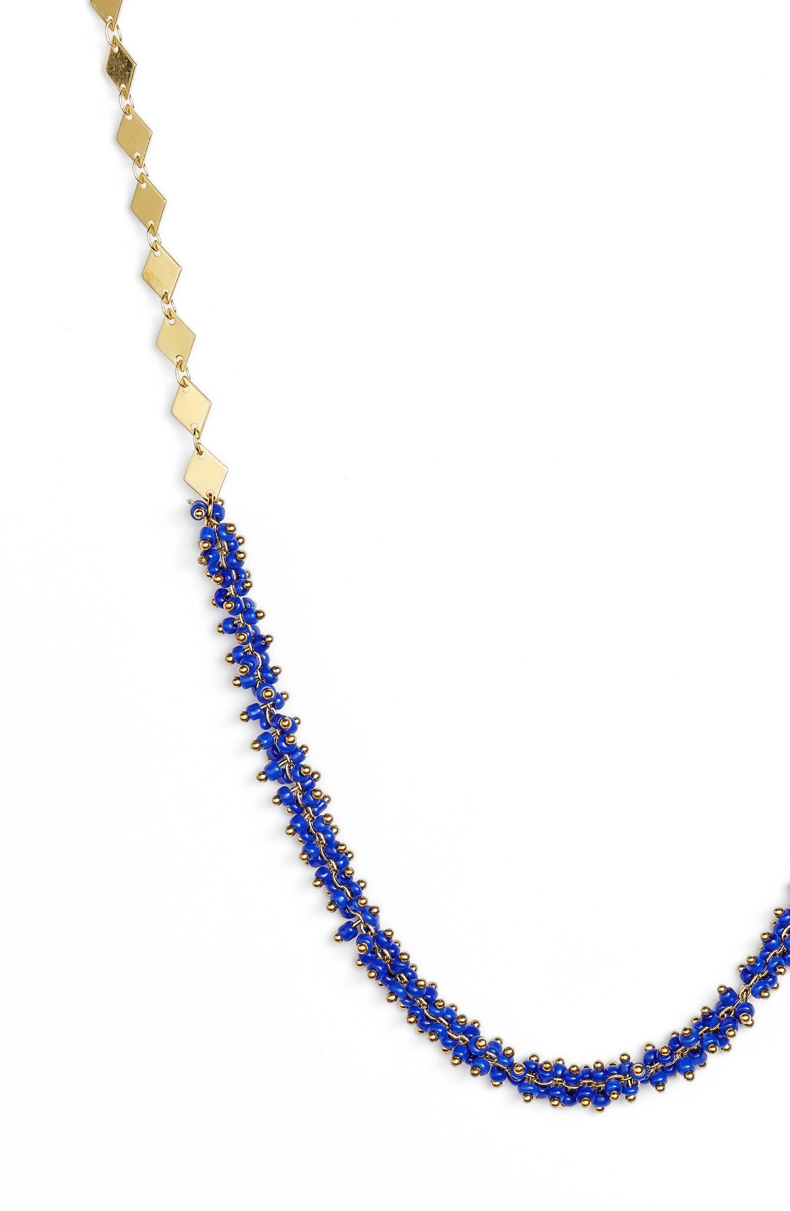 Natalia Necklace,                             Alternate thumbnail 2, color,                             Gold/ Blue