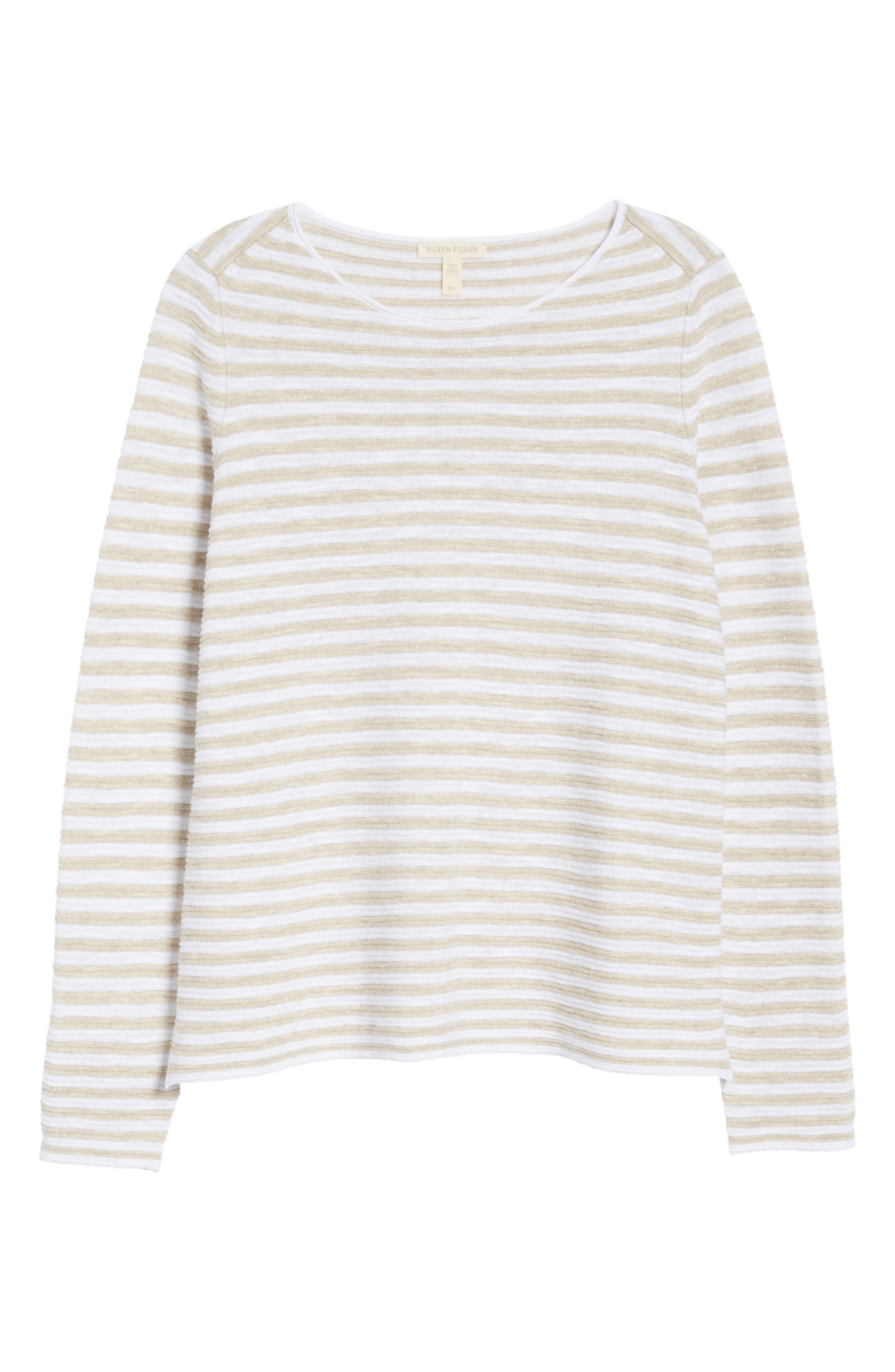Stripe Organic Linen & Cotton Sweater,                             Alternate thumbnail 7, color,                             White/ Natural