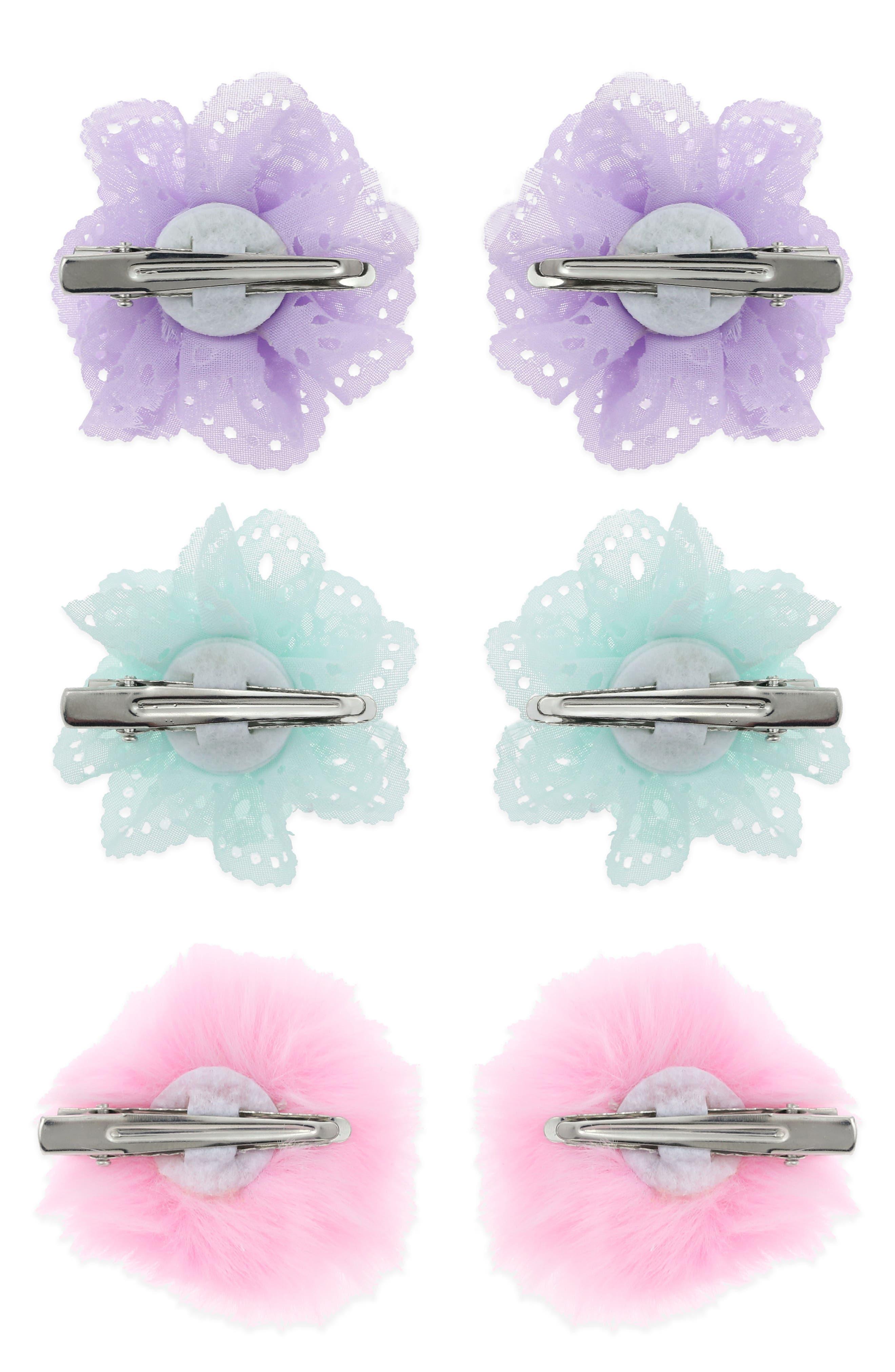 6-Pack Flower & Pompom Hair Clips,                             Alternate thumbnail 2, color,                             Pastel Combo