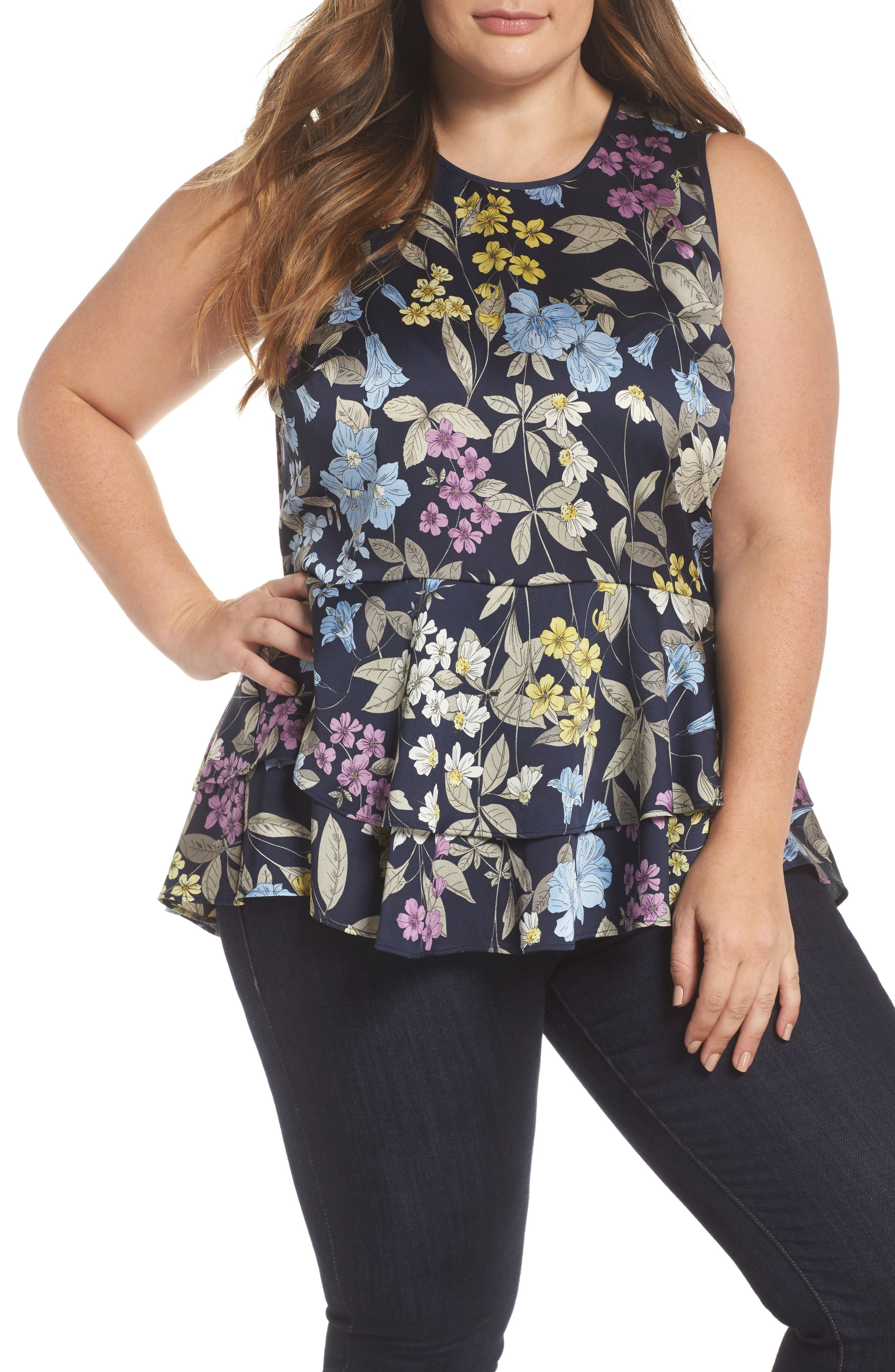 Country Floral Ruffle Hem Top,                         Main,                         color, Night Sky