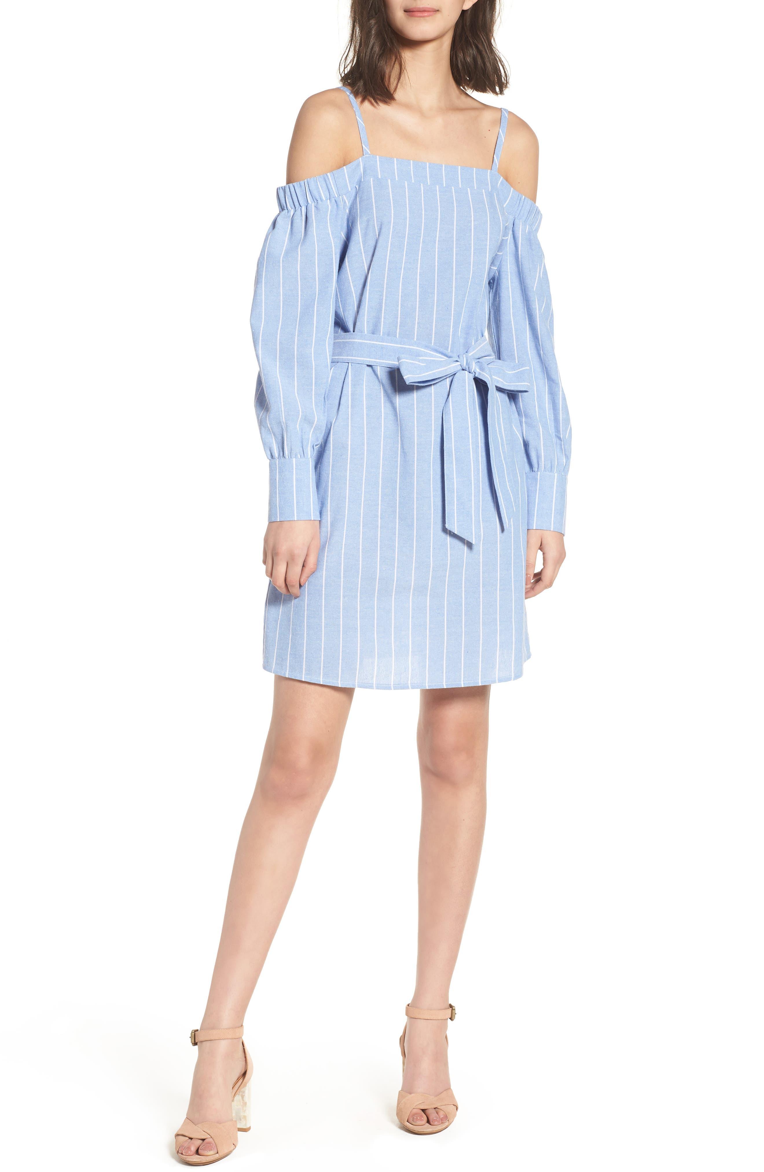 Bishop + Young Chrissy Cold Shoulder Dress,                             Main thumbnail 1, color,                             Blue White Stripe