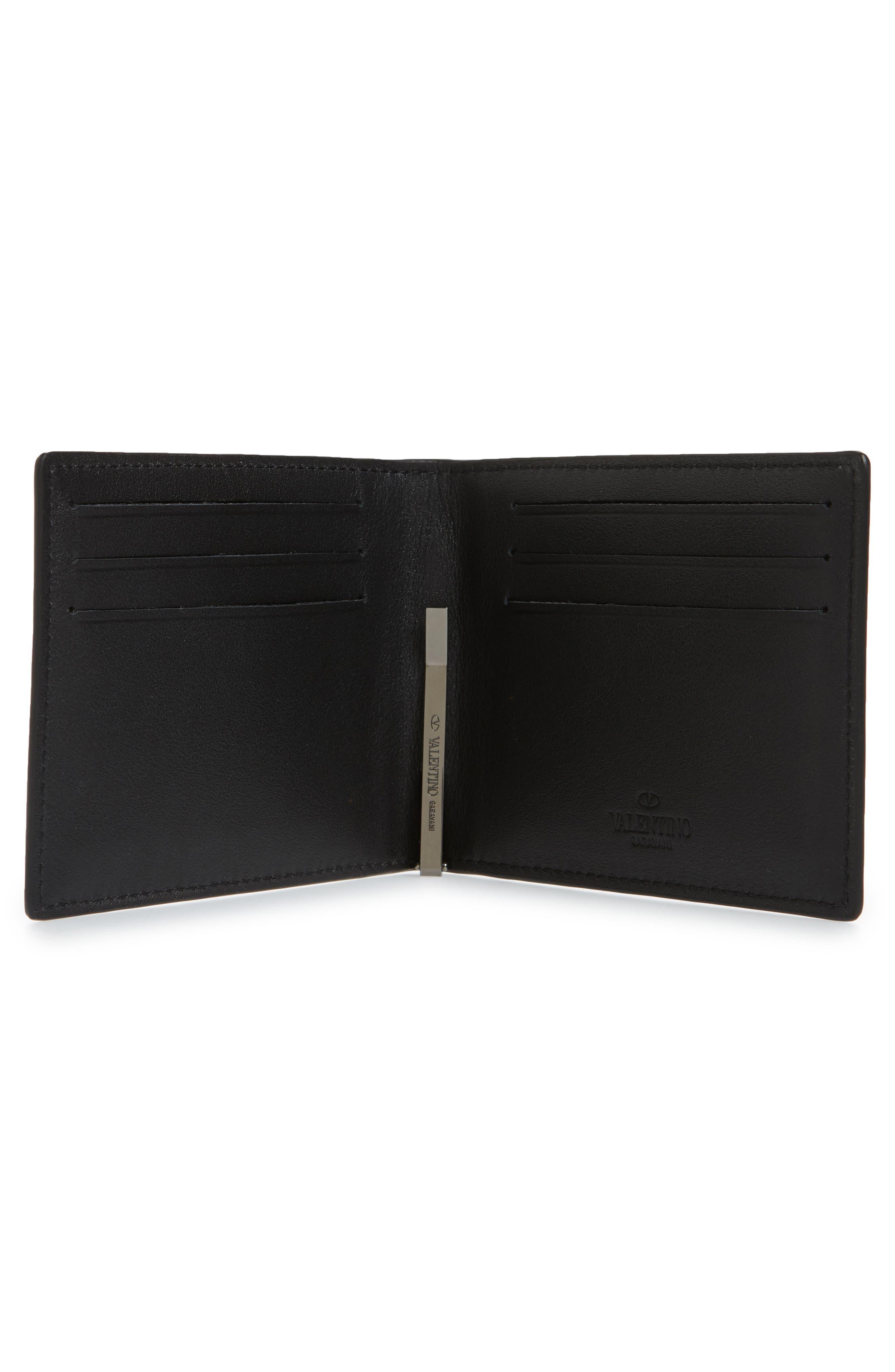 GARAVANI Stud Leather Money Clip Card Case,                             Alternate thumbnail 2, color,                             Black