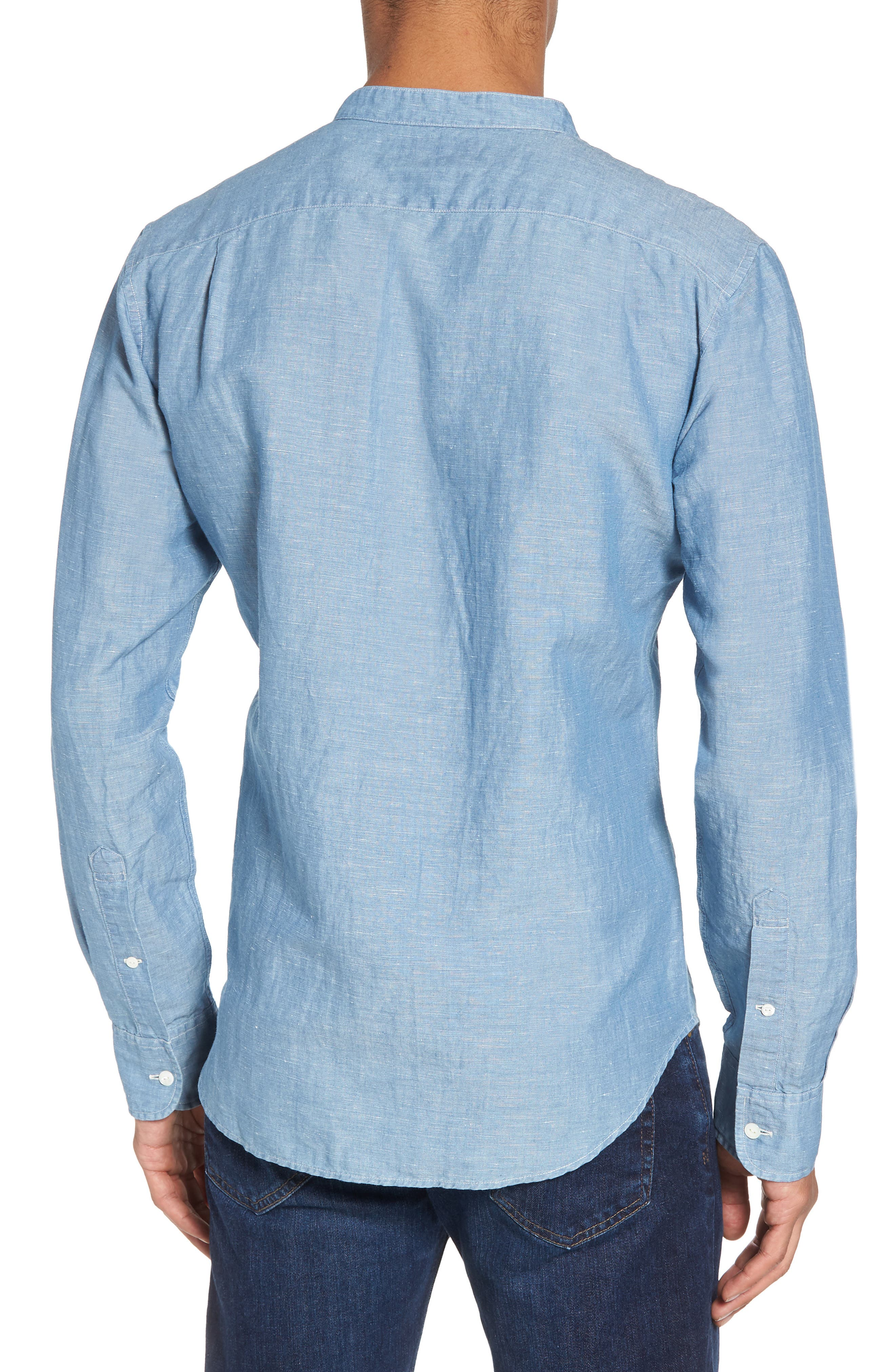 Trim Fit Chambray Sport Shirt,                             Alternate thumbnail 2, color,                             Chambray Bleach Wash