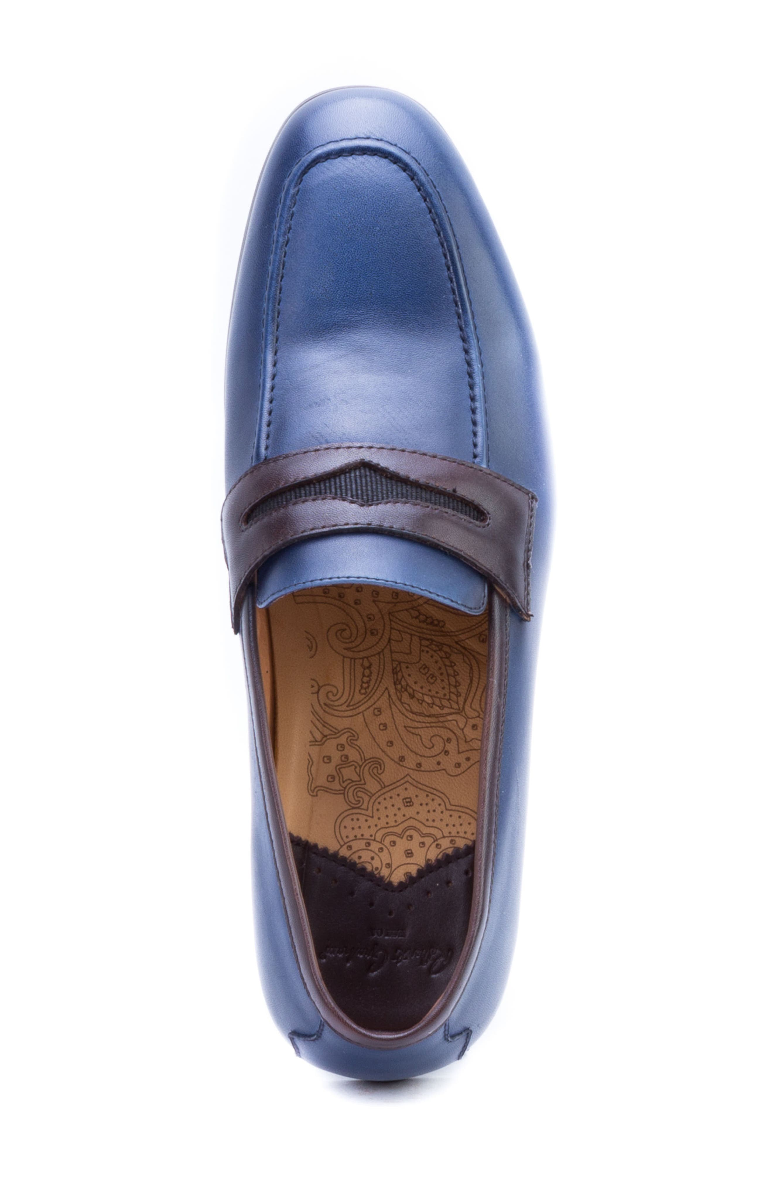 Apron Toe Penny Loafer,                             Alternate thumbnail 5, color,                             Navy Leather