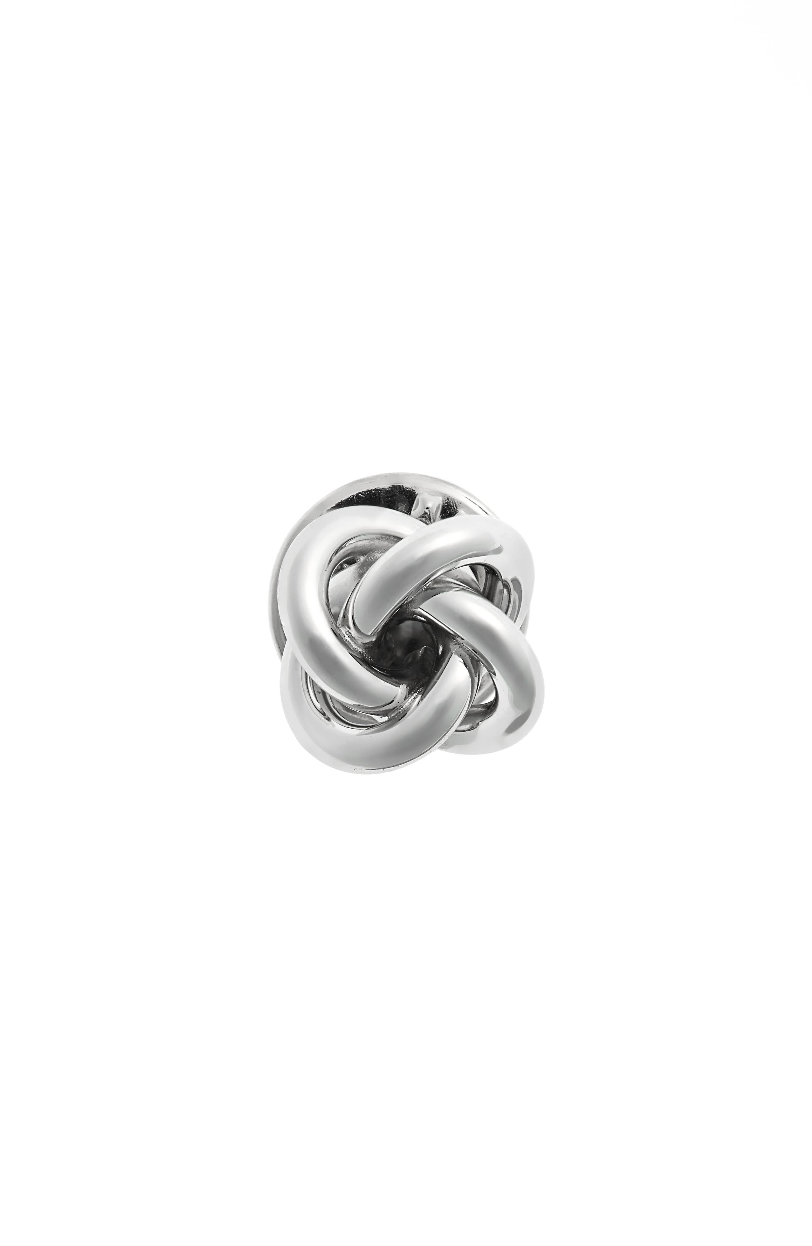 Knot Lapel Pin,                             Main thumbnail 1, color,                             Silver