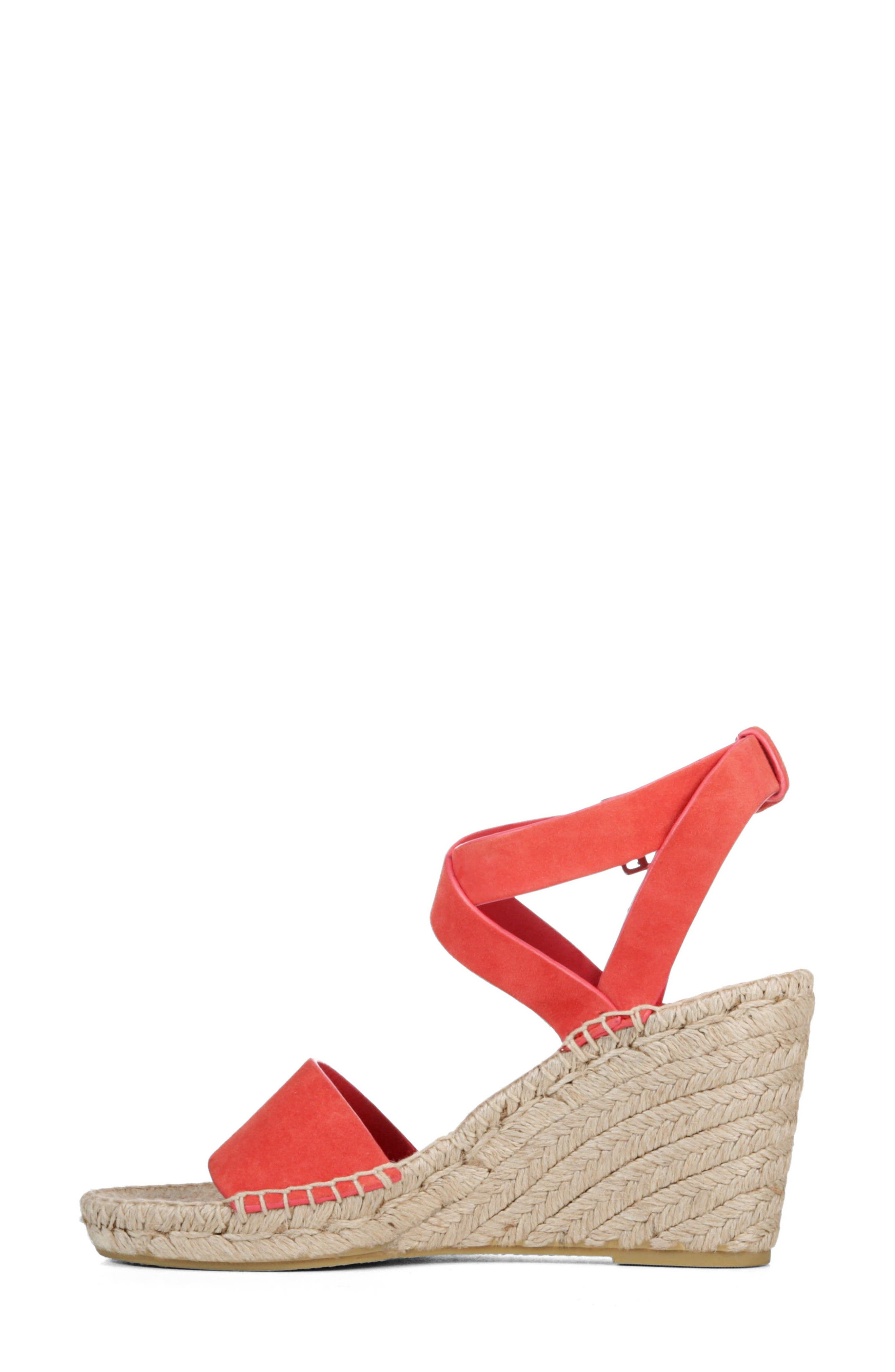 Nevada Espadrille Wedge Sandal,                             Alternate thumbnail 3, color,                             Poppy Red Suede