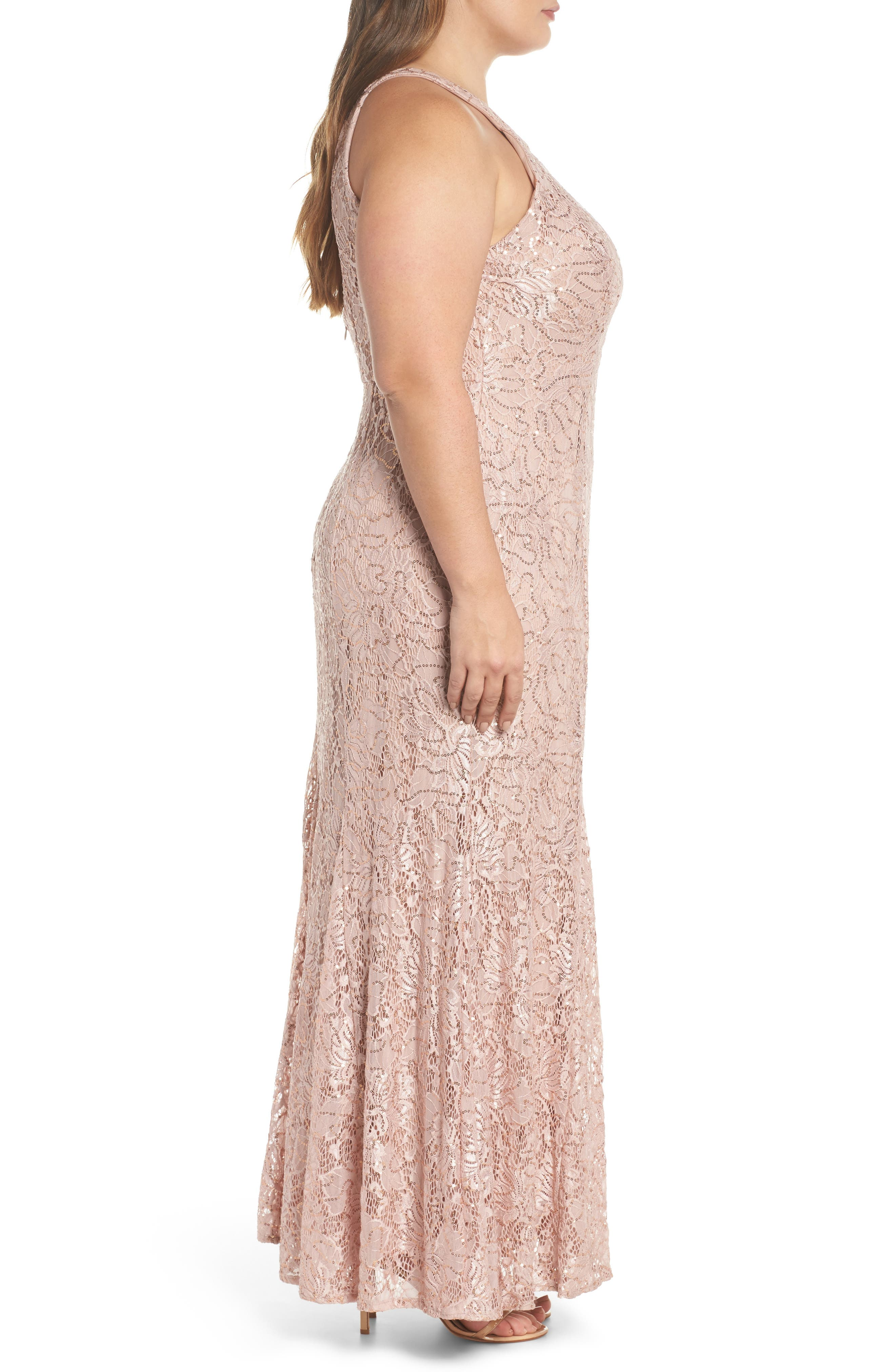 Sequin Lace Gown,                             Alternate thumbnail 3, color,                             Rose Gold