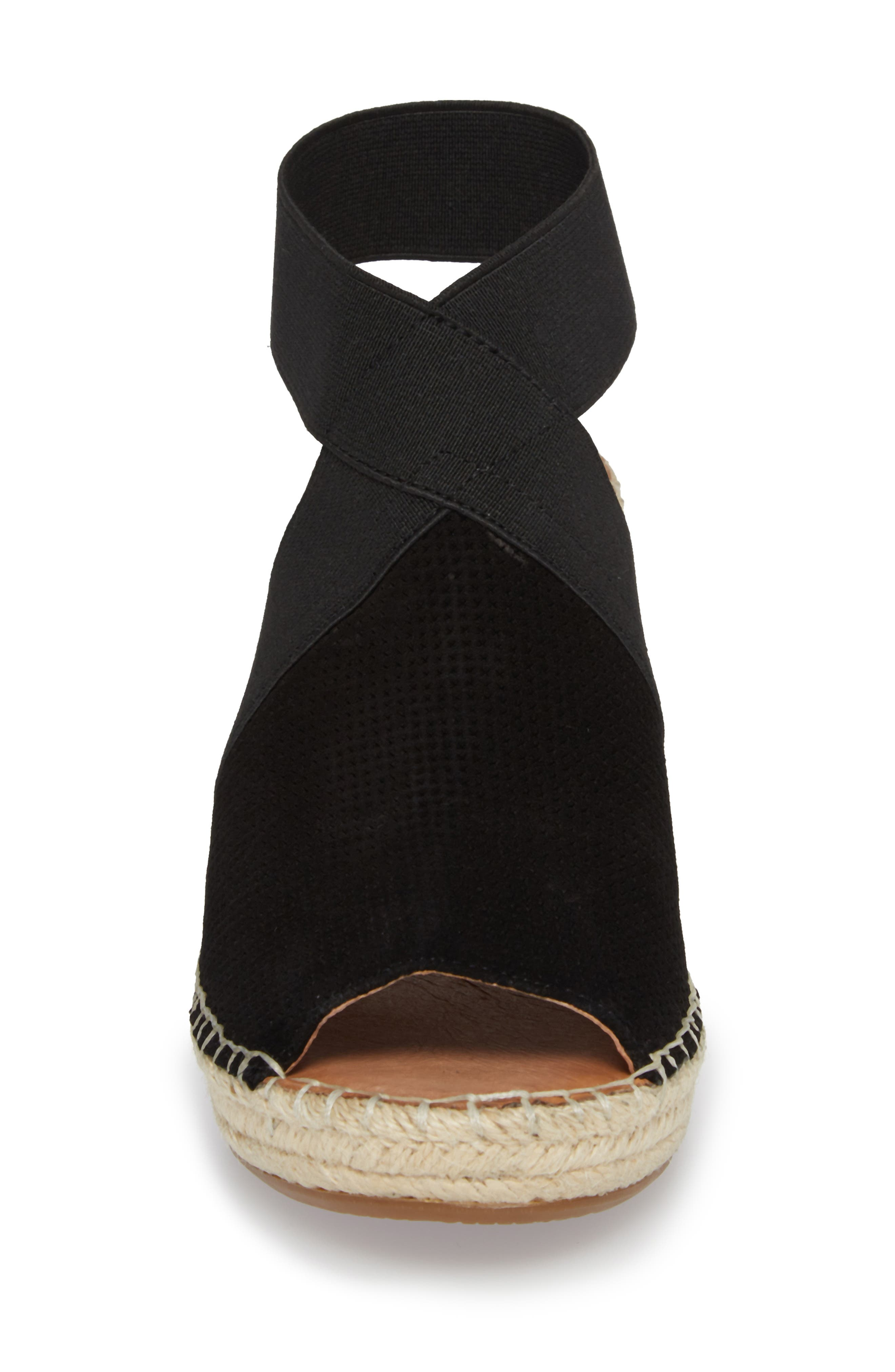by Kenneth Cole Colleen Espadrille Wedge,                             Alternate thumbnail 4, color,                             Black Suede
