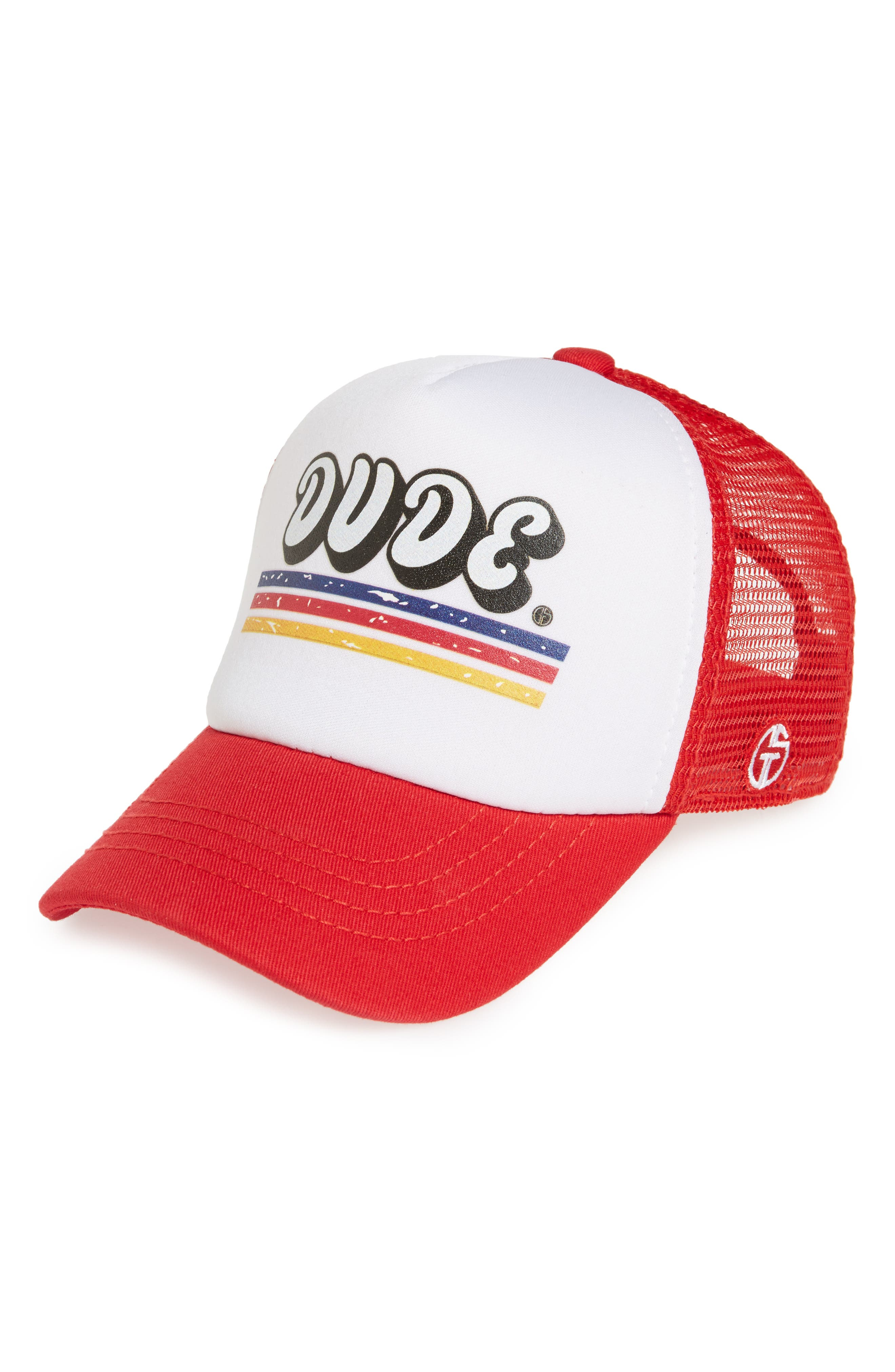 Dude Trucker Hat,                             Main thumbnail 1, color,                             Red/ White