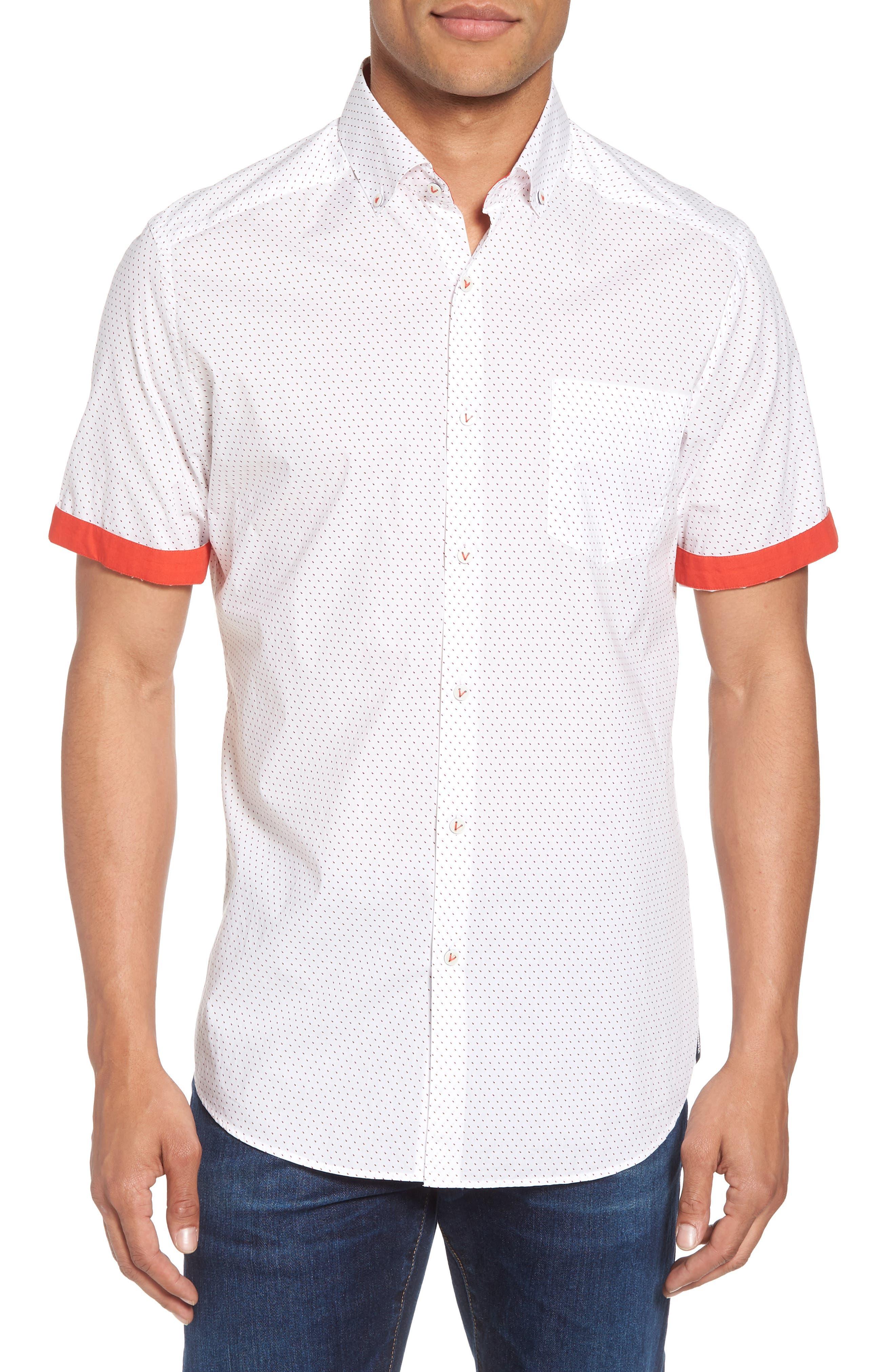 Dot Print Shirt,                             Main thumbnail 1, color,                             Canvas / Red Coral