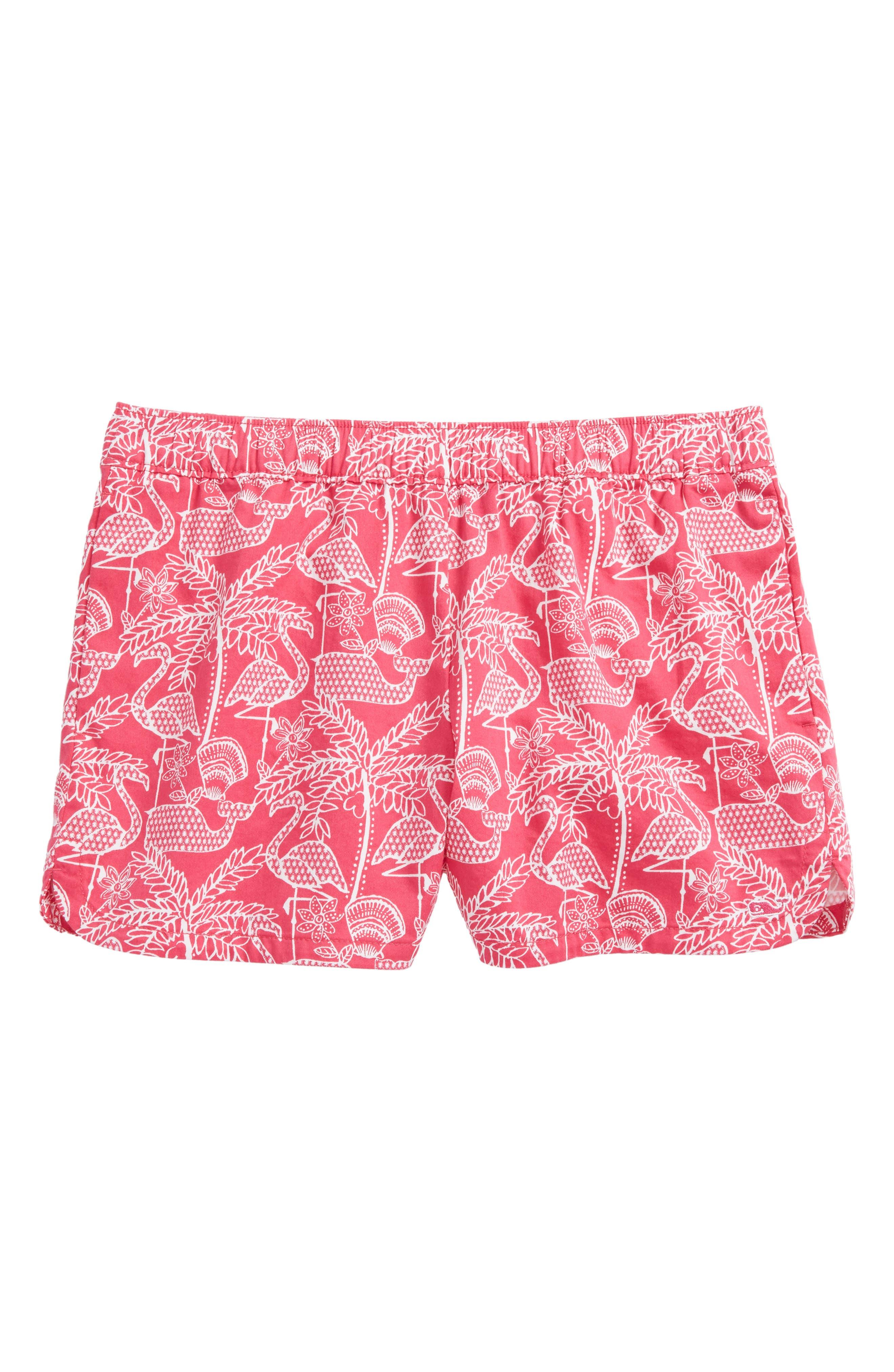 Flamingo Print Shorts,                             Main thumbnail 1, color,                             Rhododendron