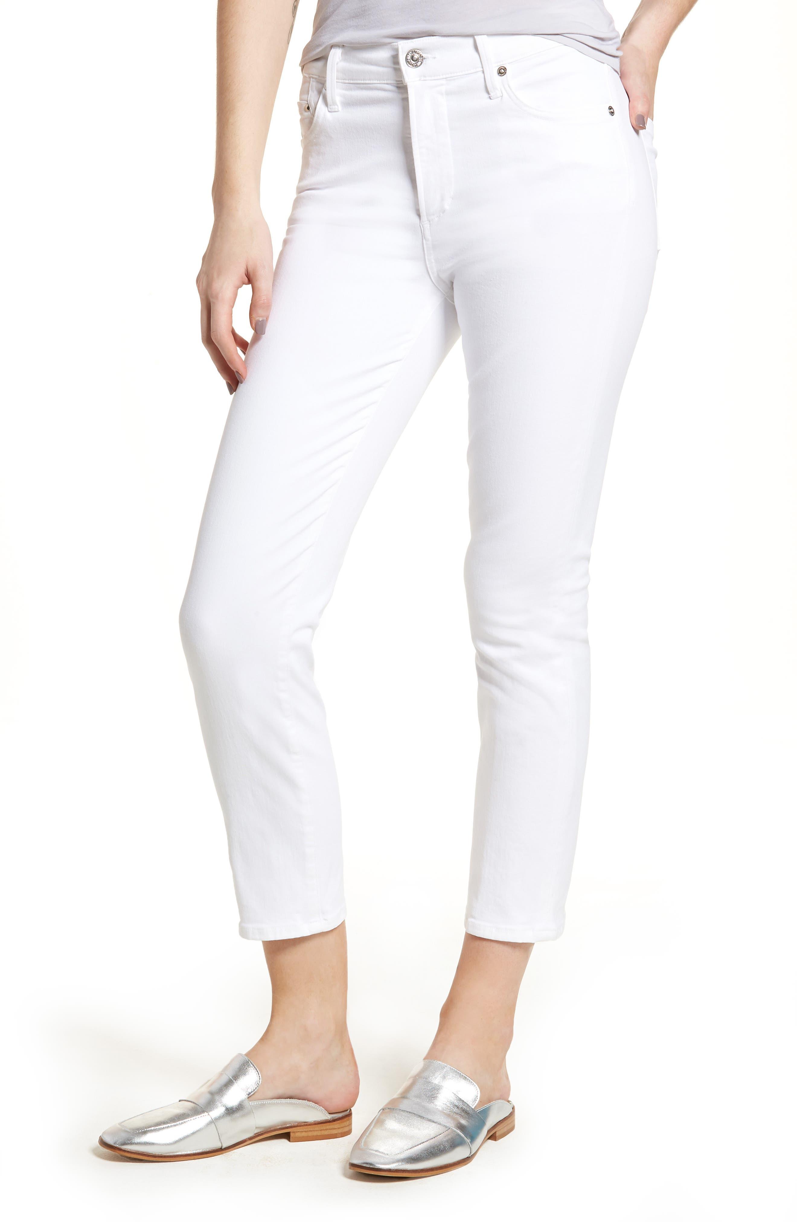 Cara Ankle Cigarette Jeans,                         Main,                         color, Sculpt White
