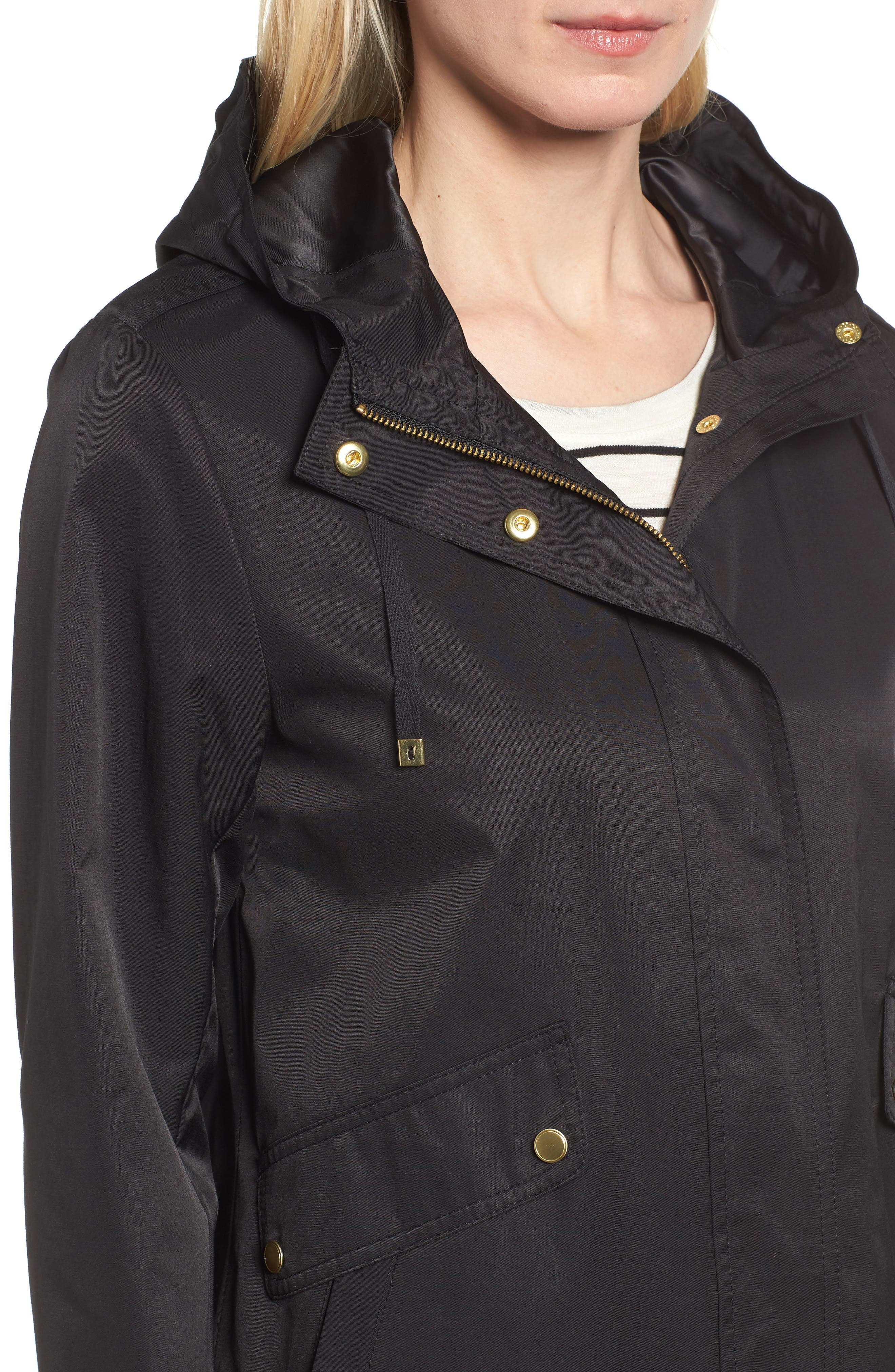 A-Line Jacket with Hood,                             Alternate thumbnail 4, color,                             Black