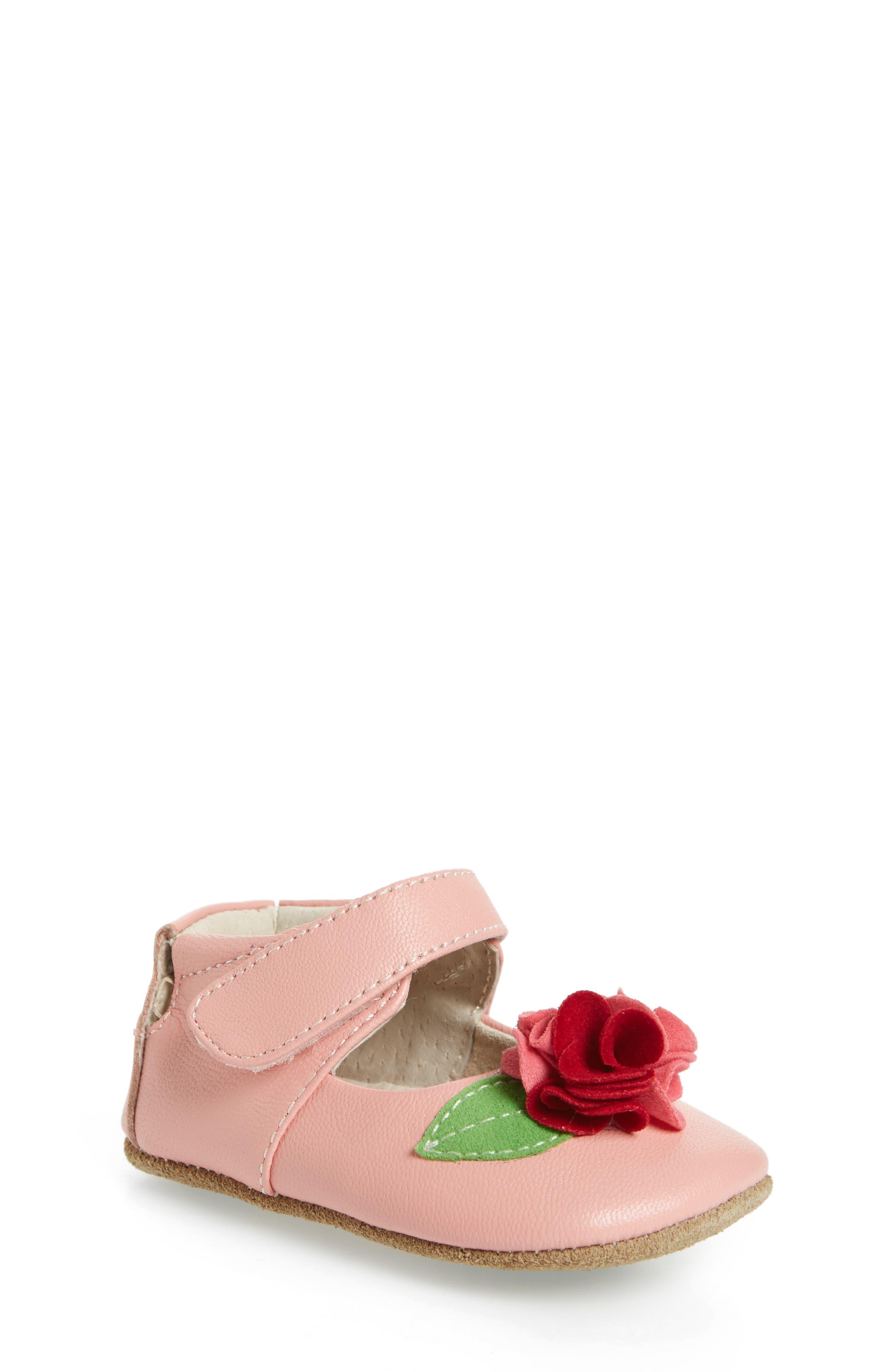 Rosa Mary Jane Crib Shoe,                             Main thumbnail 1, color,                             Light Pink