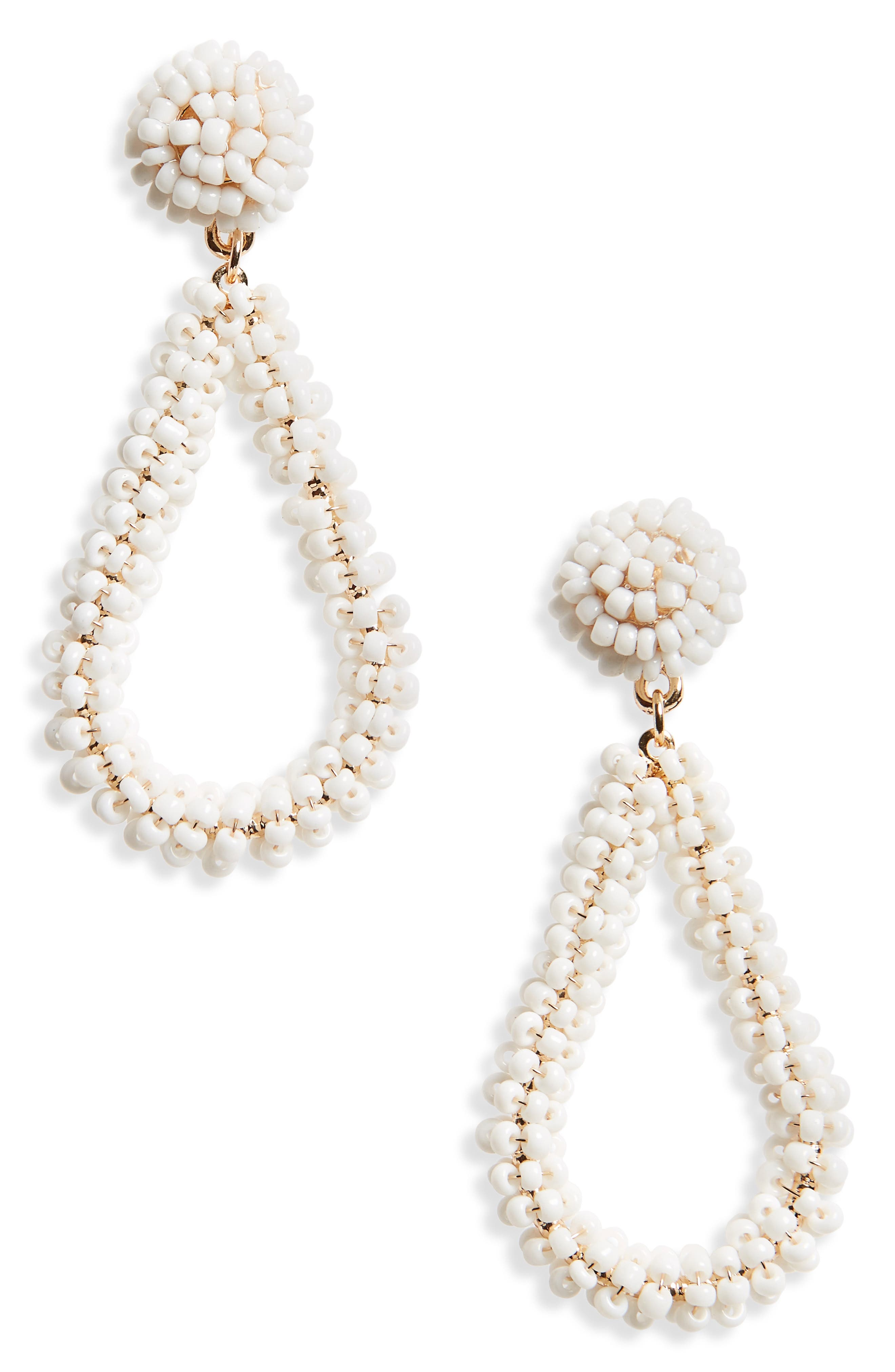 Bead Drop Earrings,                         Main,                         color, White