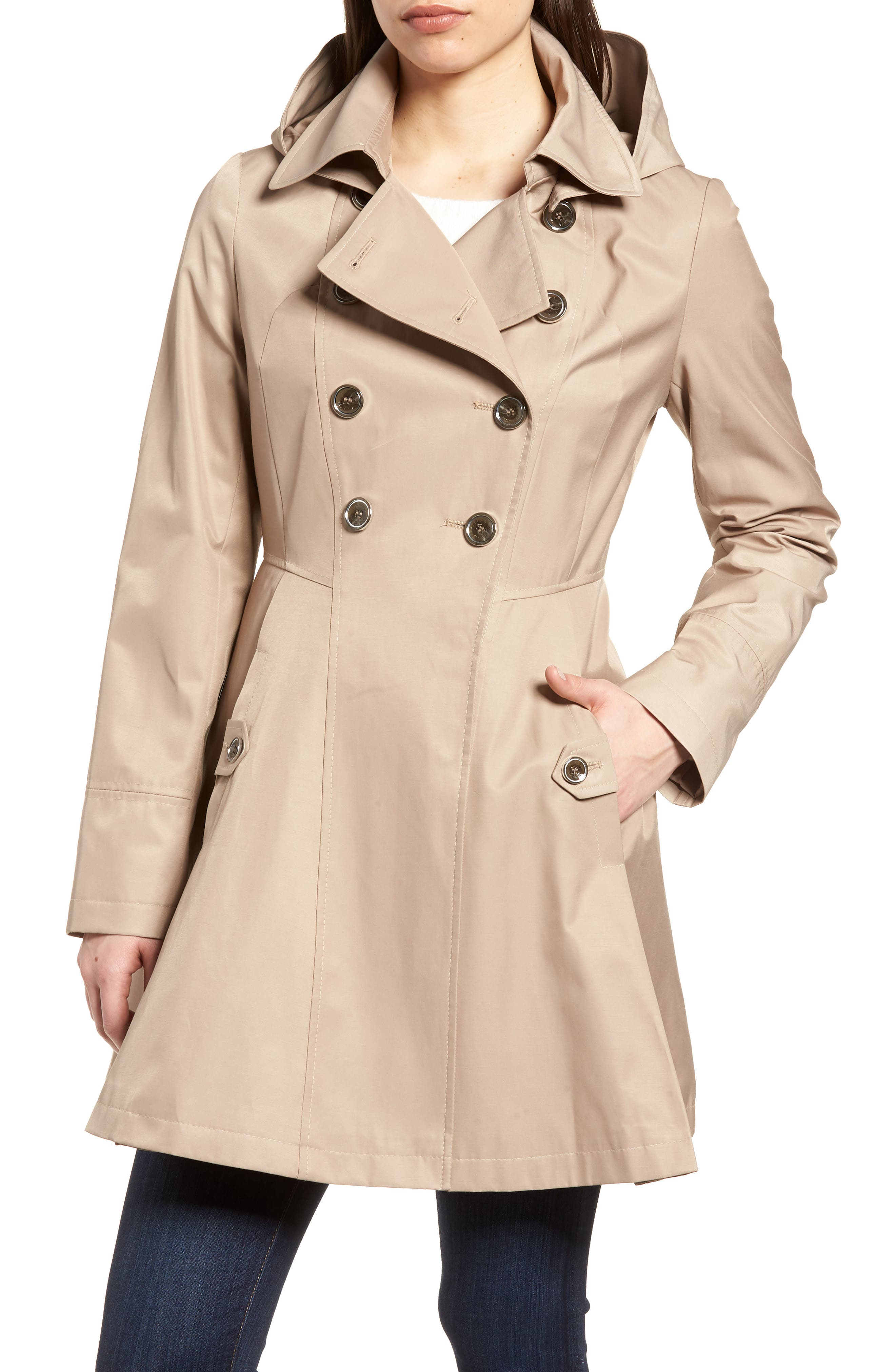 Double Breasted Fit & Flare Trench Coat,                             Main thumbnail 1, color,                             Sand