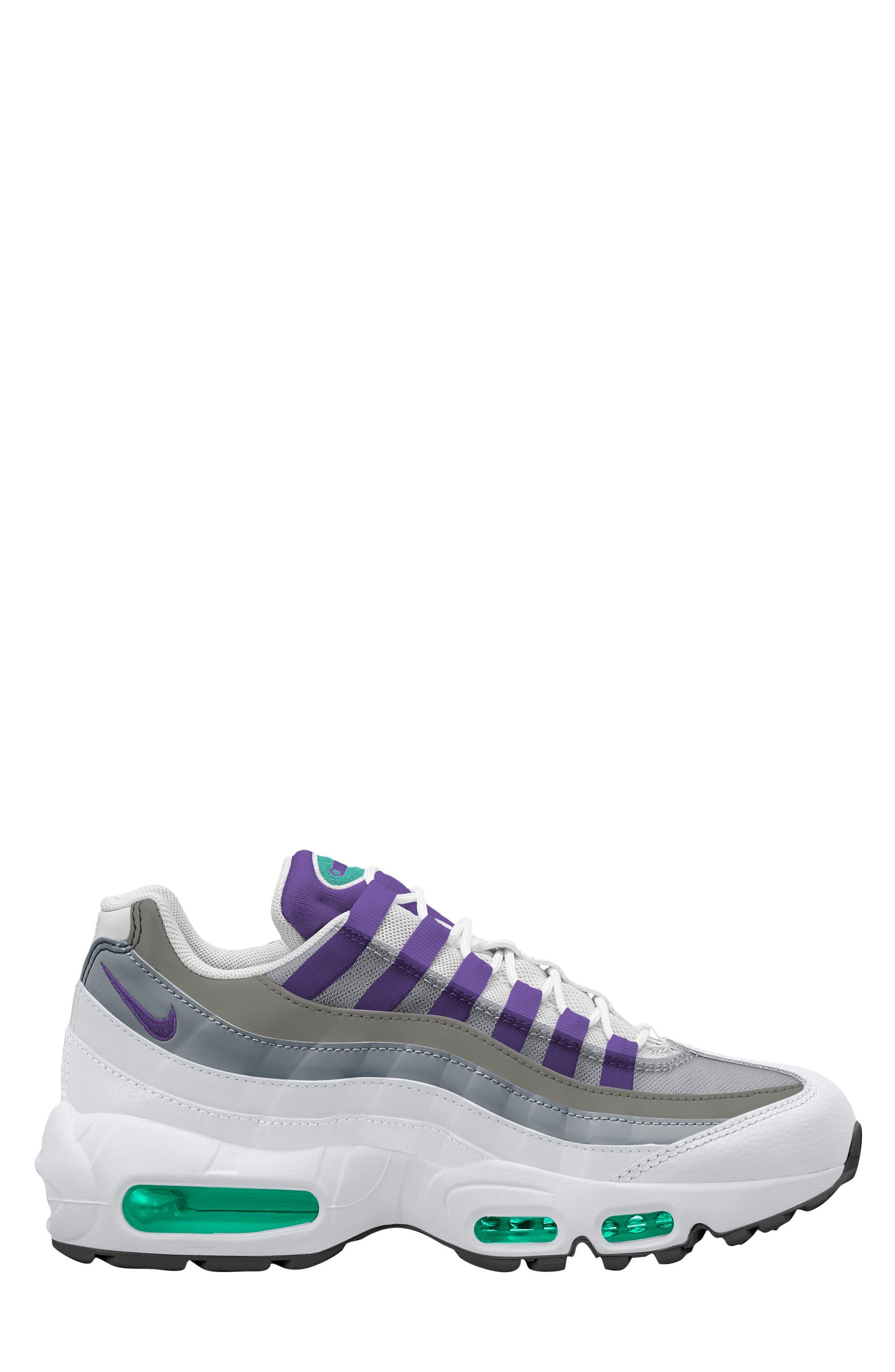 Air Max 95 Running Shoe,                             Main thumbnail 1, color,                             White/ Purple/ Emerald Green