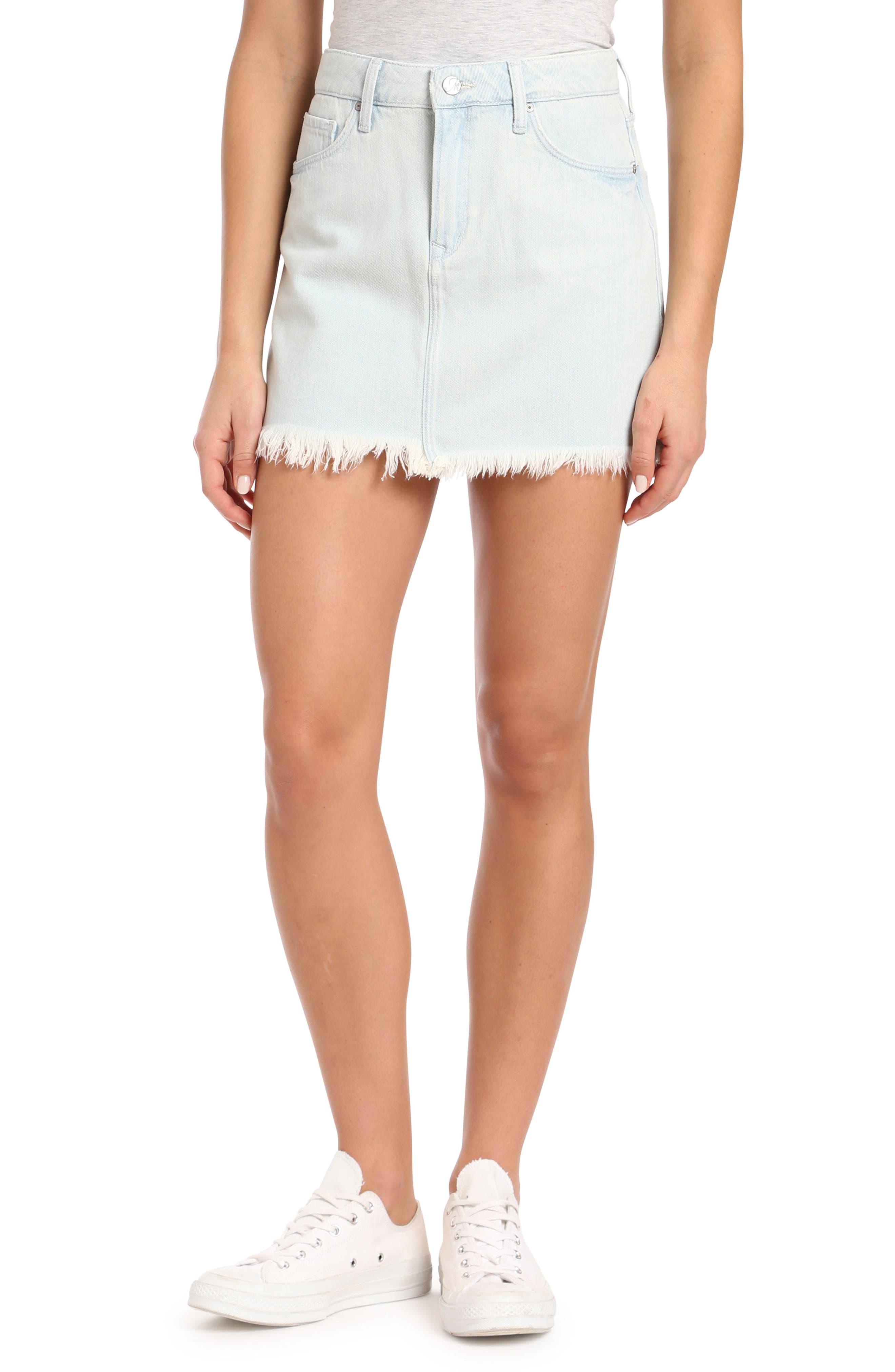 Mavi Jeans Lindsay Raw Edged Bleached Denim Skirt (Used Bleach)