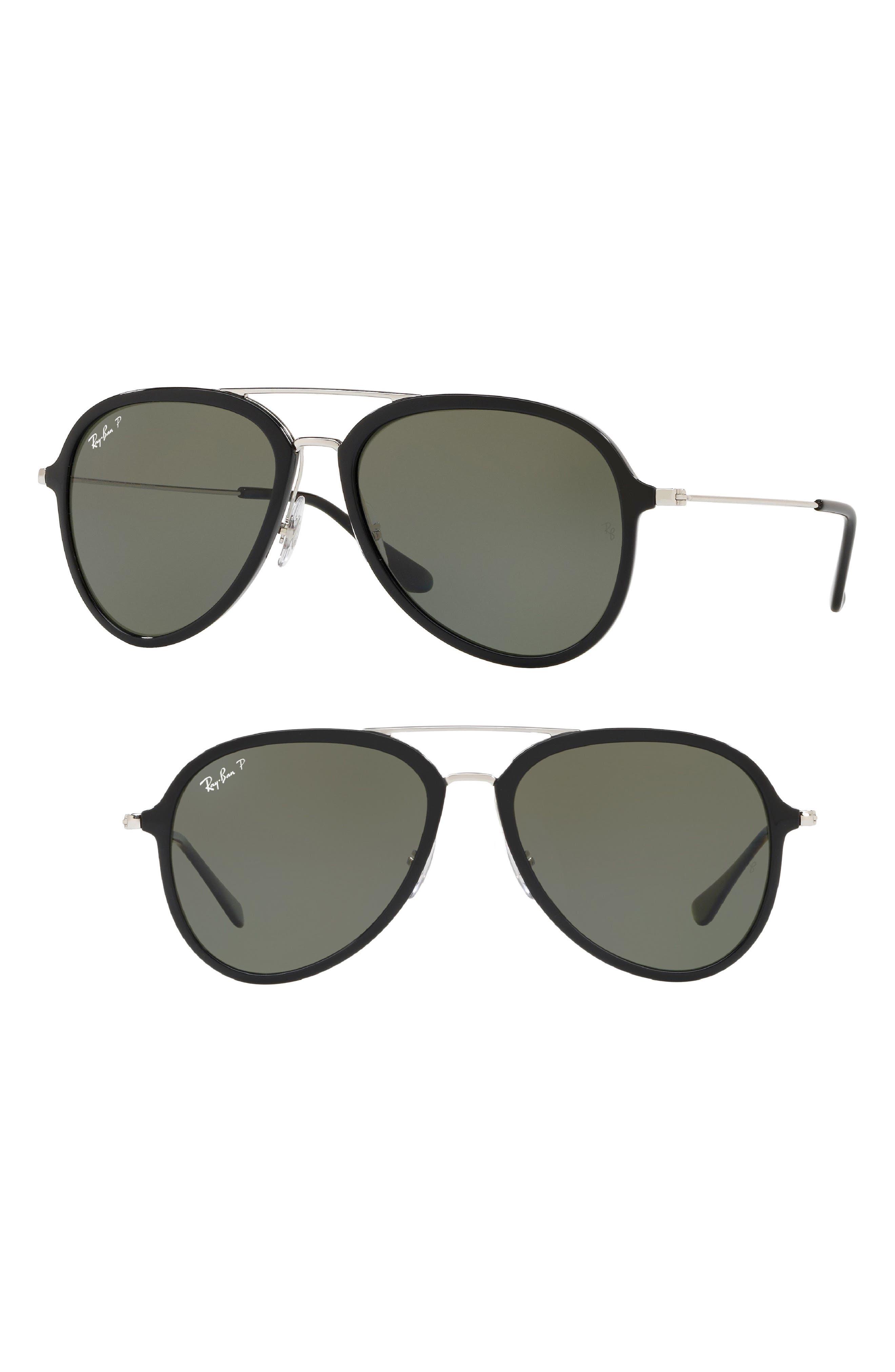 57mm Polarized Aviator Sunglasses,                             Main thumbnail 1, color,                             Black