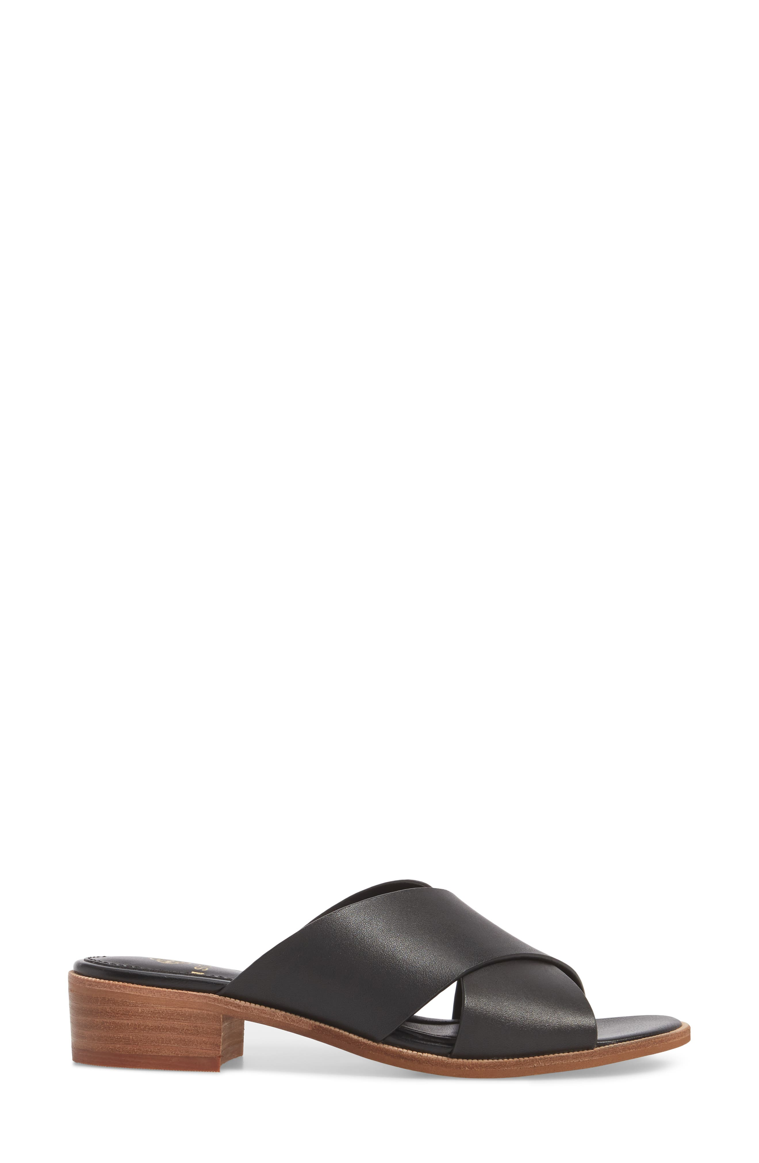 Isola Ginata Slide Sandal,                             Alternate thumbnail 3, color,                             Black Leather