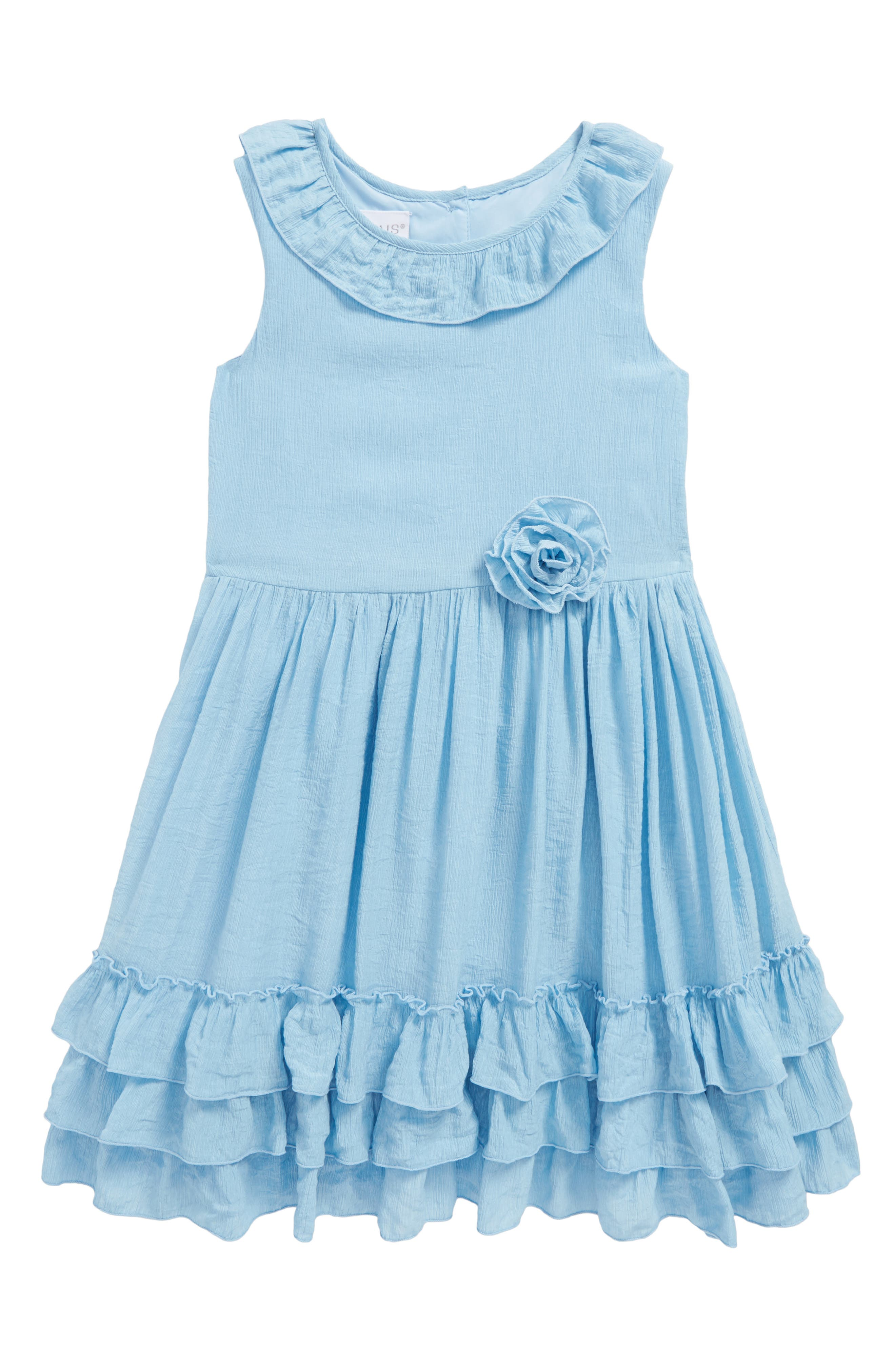 Ruffle Dress,                         Main,                         color, Blue