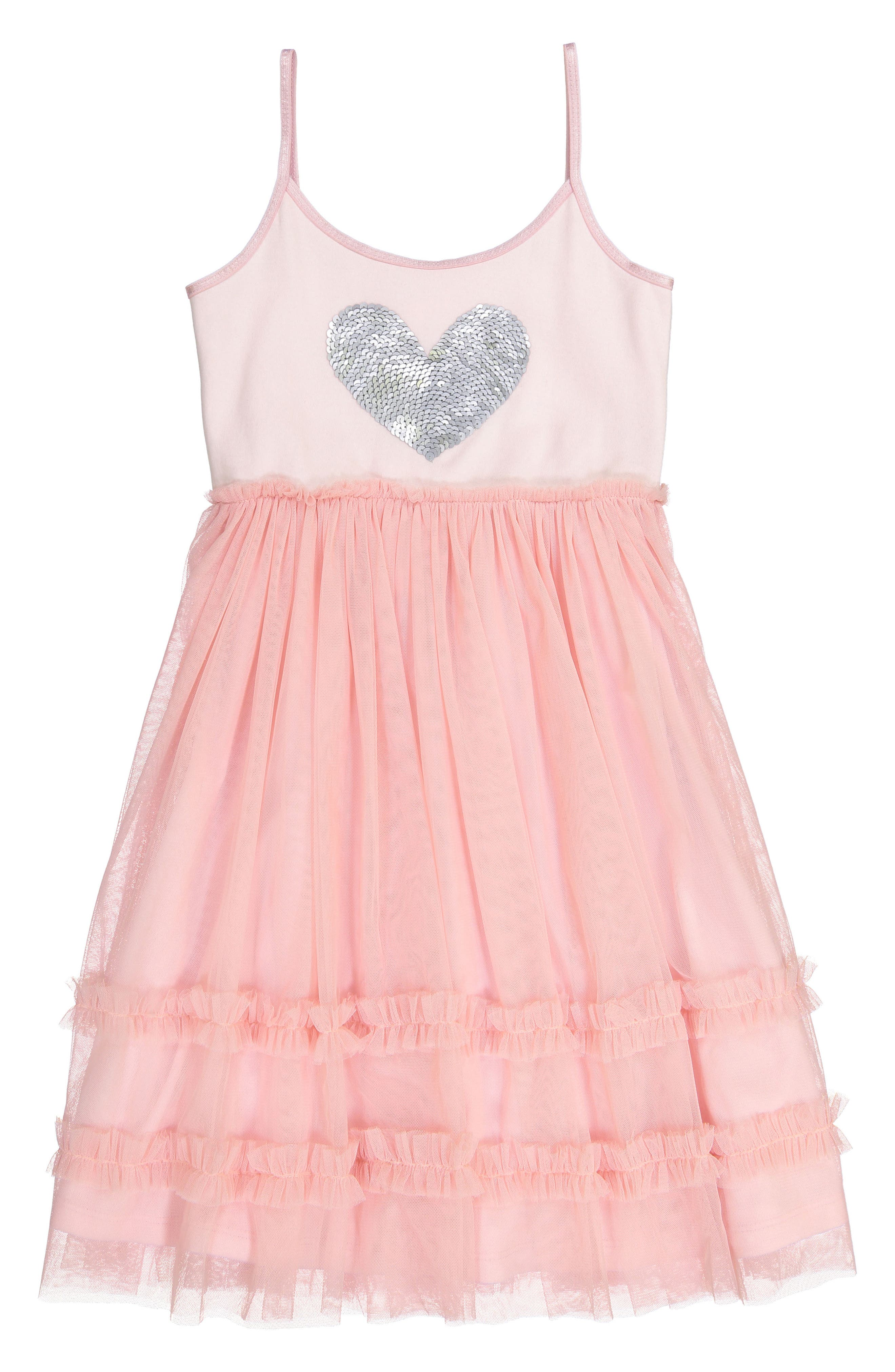 Sequin Heart Dress with Tulle Skirt,                         Main,                         color, Blush