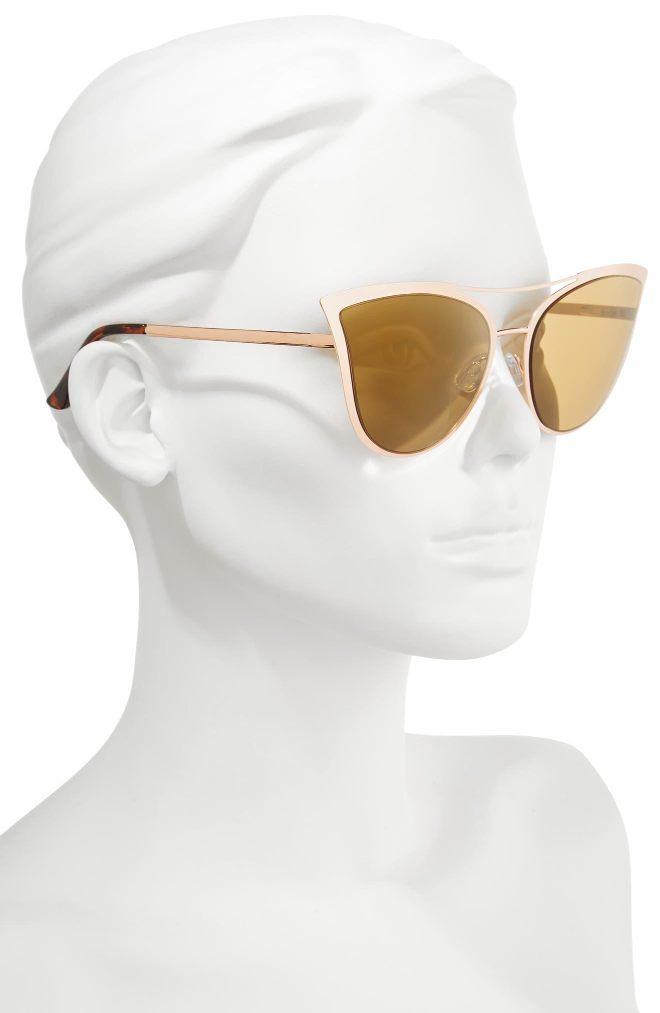 61mm Metal Cat Eye Sunglasses,                             Alternate thumbnail 2, color,                             Gold