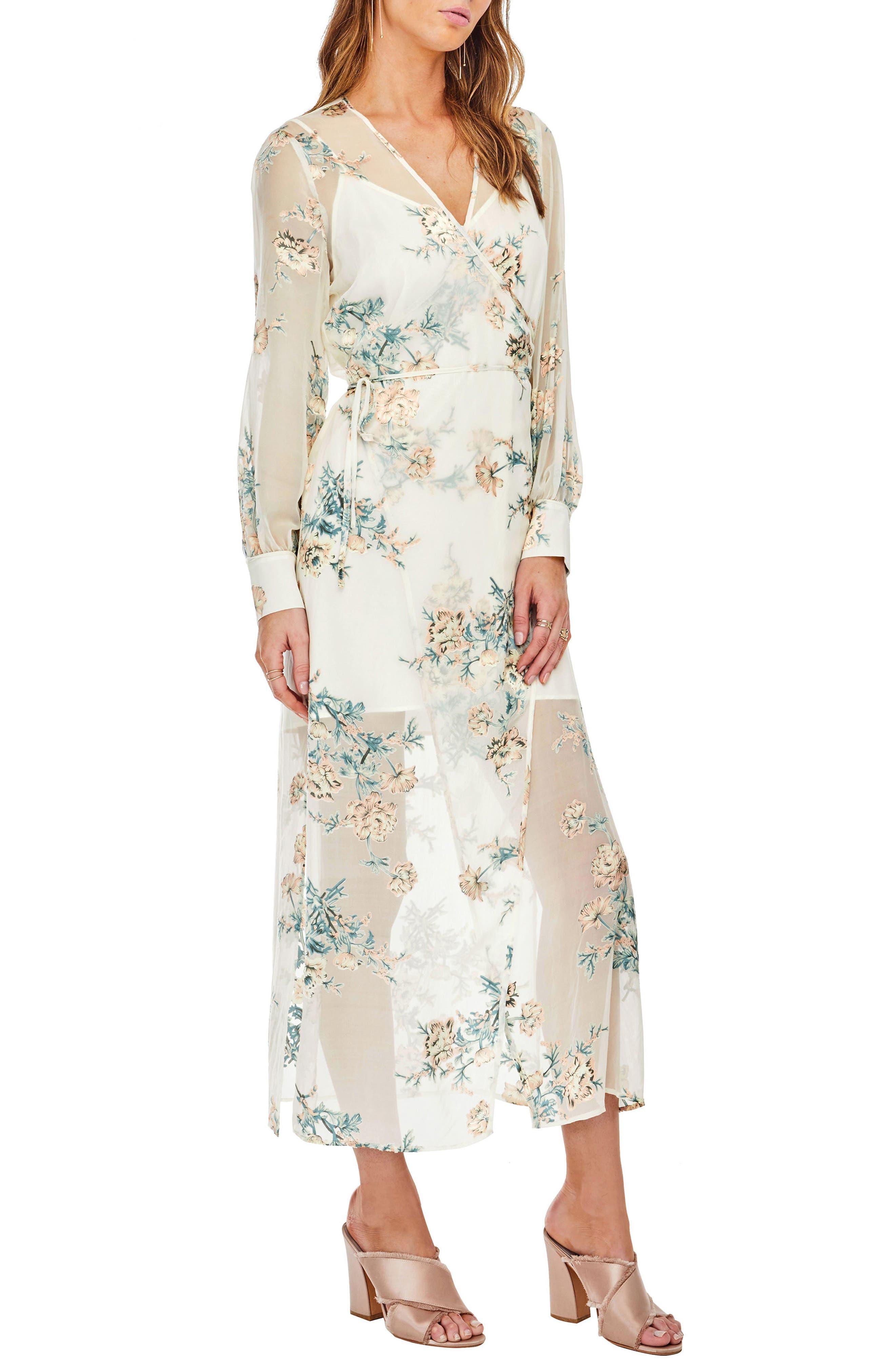 Riley Wrap Midi Dress,                             Alternate thumbnail 4, color,                             Cream/Blush Floral