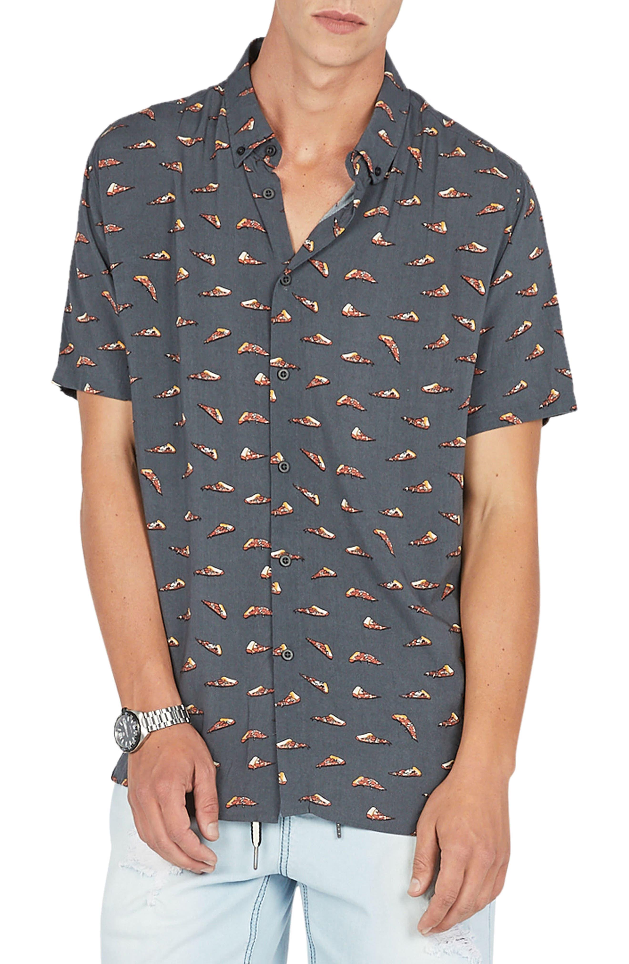 Holiday Woven Shirt,                             Main thumbnail 1, color,                             Black Pizza