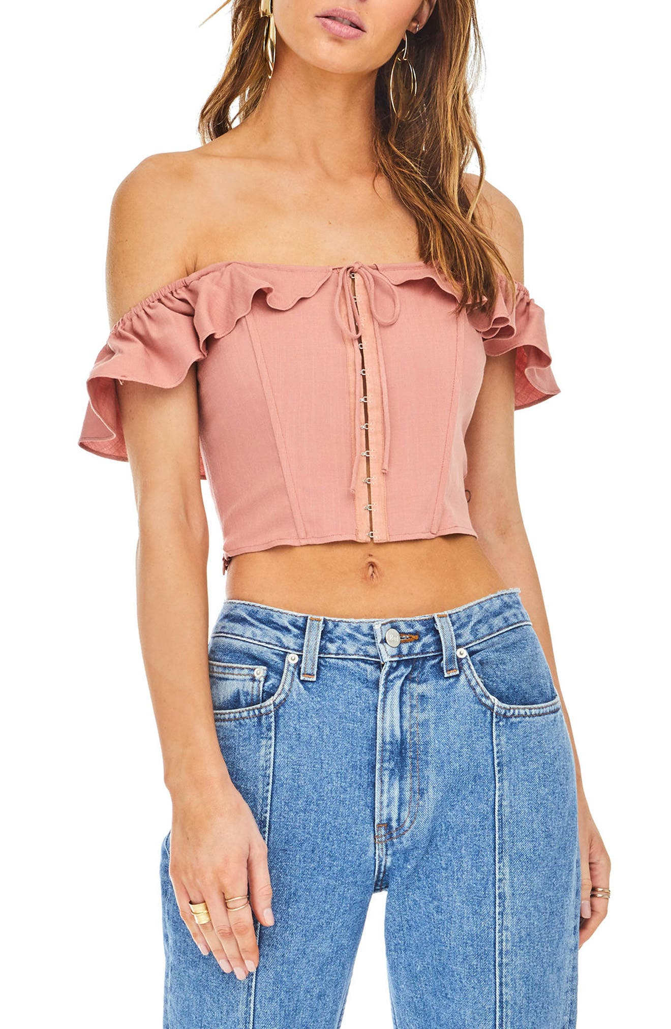 Abella Off the Shoulder Crop Top,                             Main thumbnail 1, color,                             Carnation Pink
