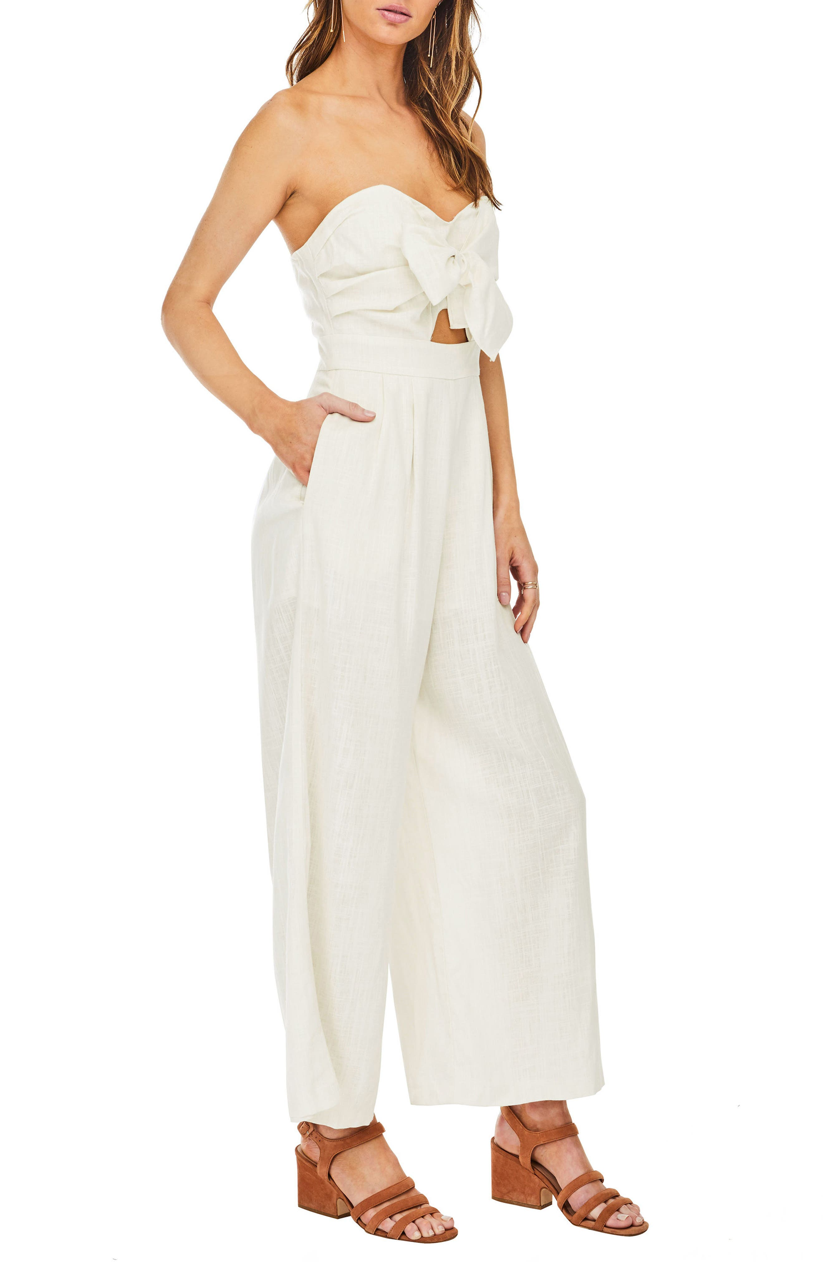 Mara Strapless Jumpsuit,                             Alternate thumbnail 4, color,                             Natural