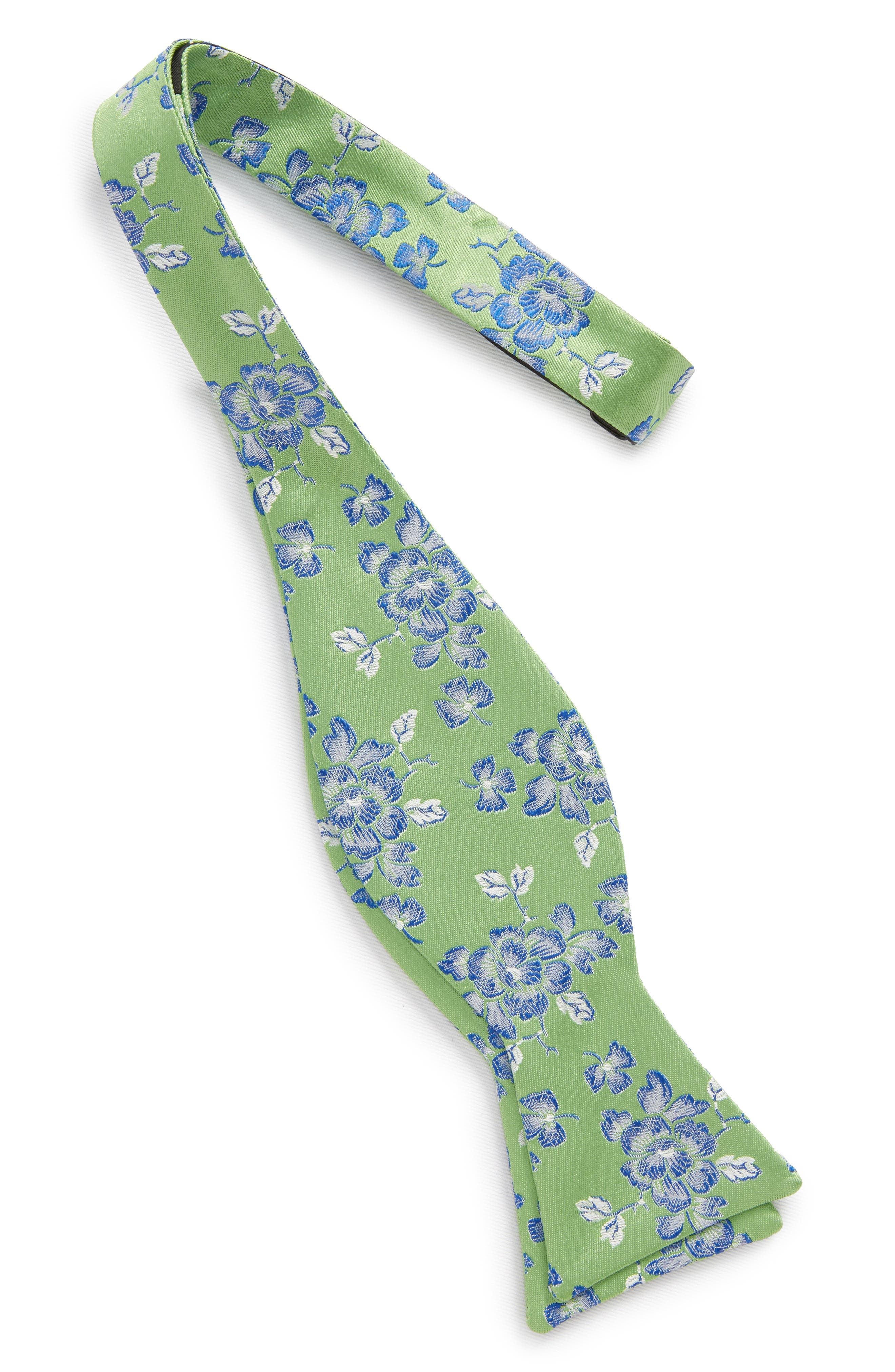 Floral Silk Bow Tie,                             Alternate thumbnail 2, color,                             Green