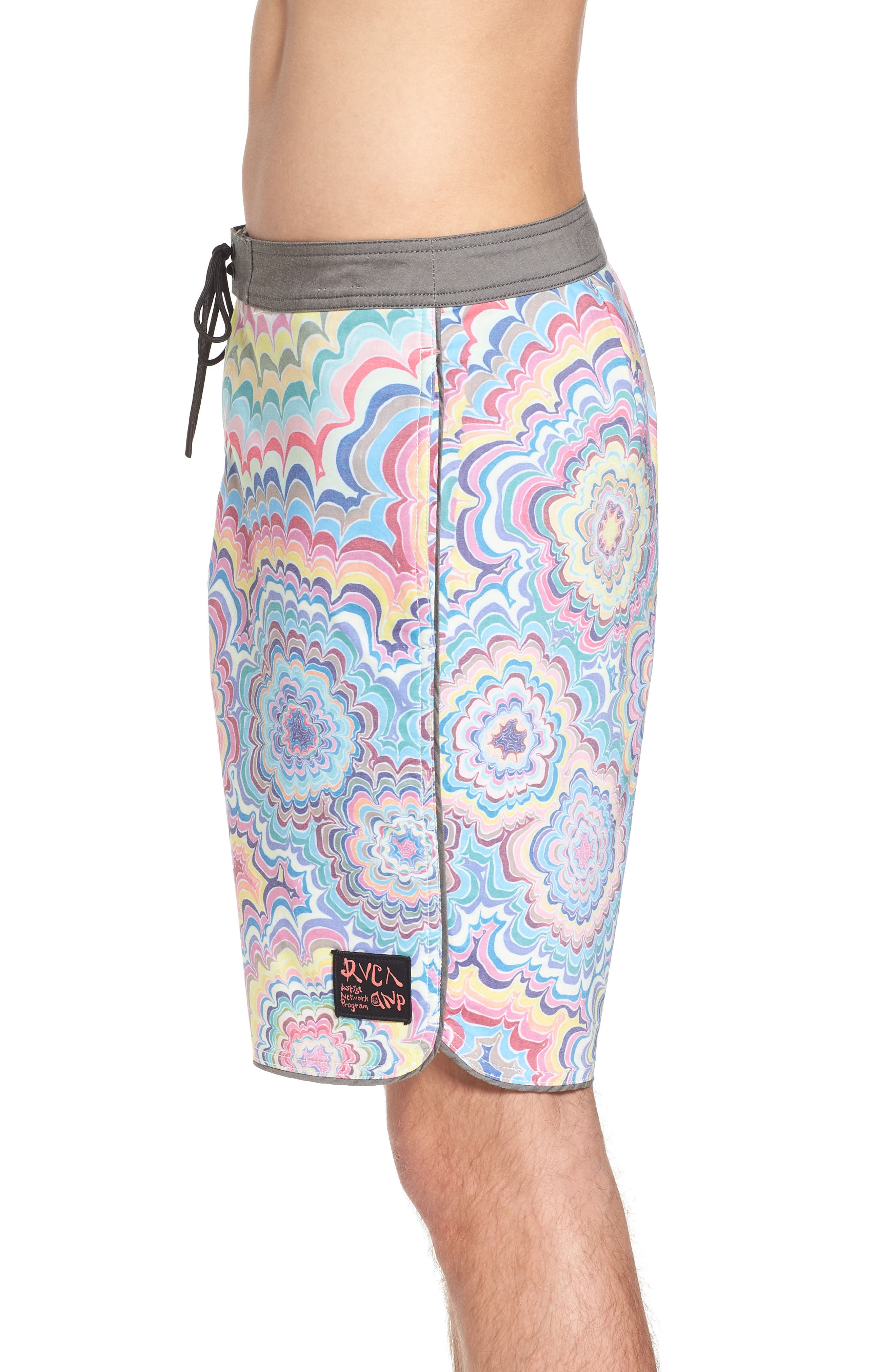 Kelsey Psych Swim Trunks,                             Alternate thumbnail 3, color,                             Coral