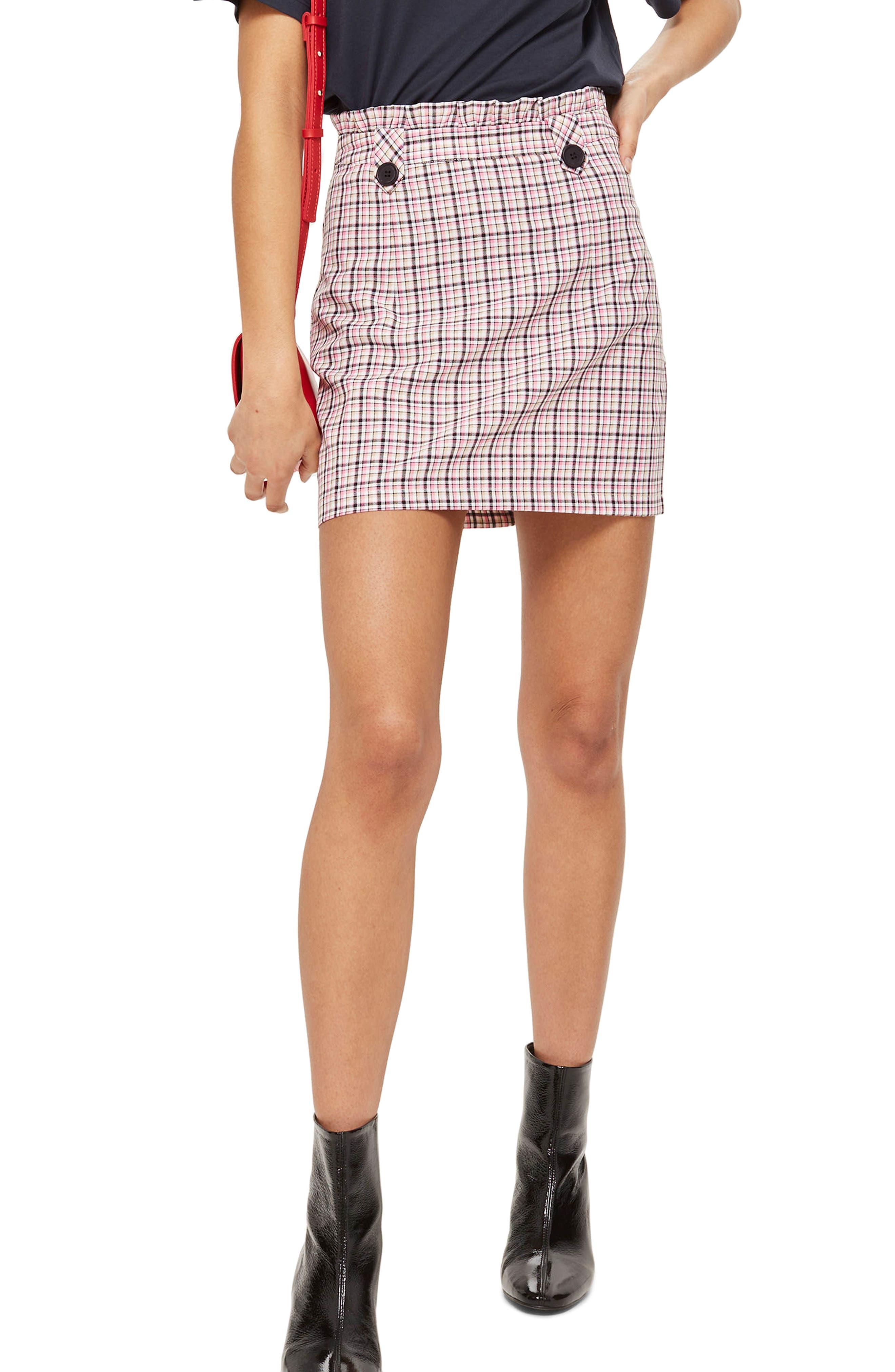 Pop Check Frill Waist Miniskirt,                             Main thumbnail 1, color,                             Pink Multi