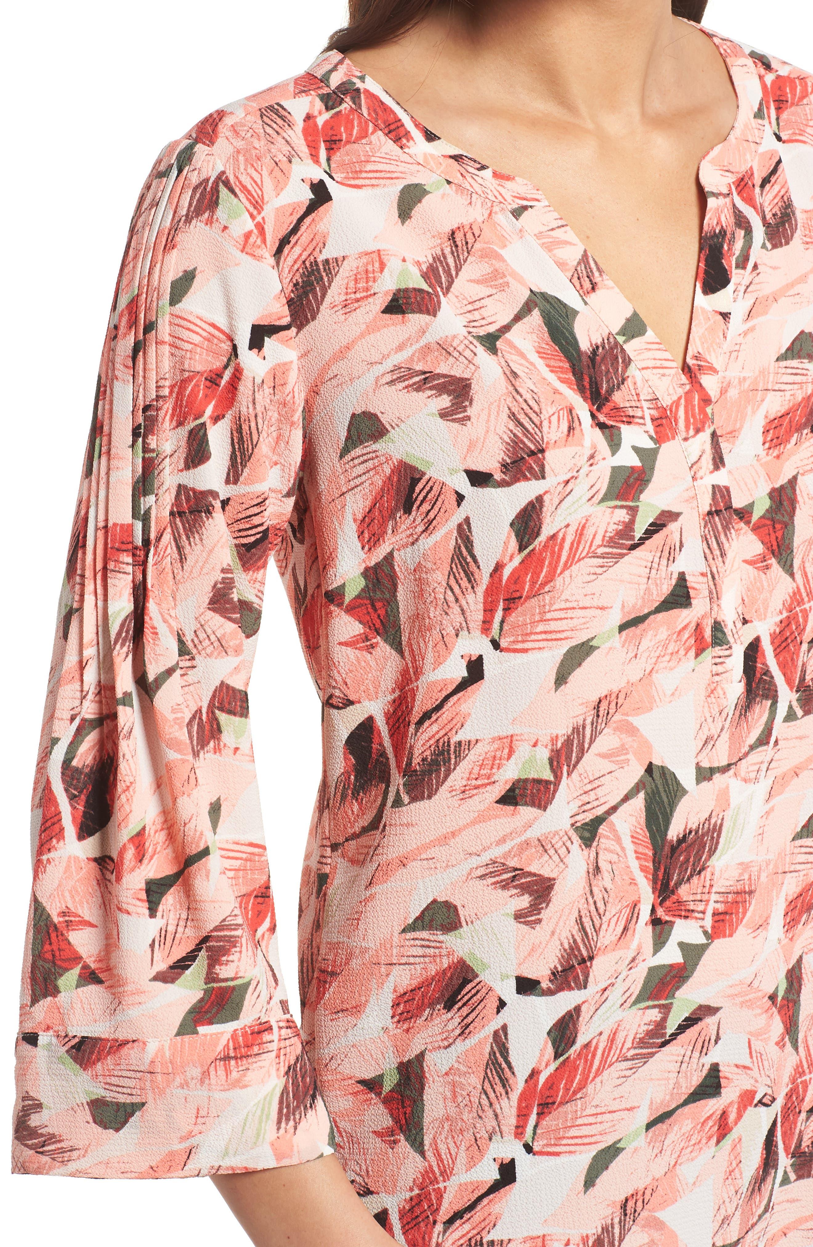 Tropical Print Pleated Sleeve Top,                             Alternate thumbnail 4, color,                             867-Sunrisepeach