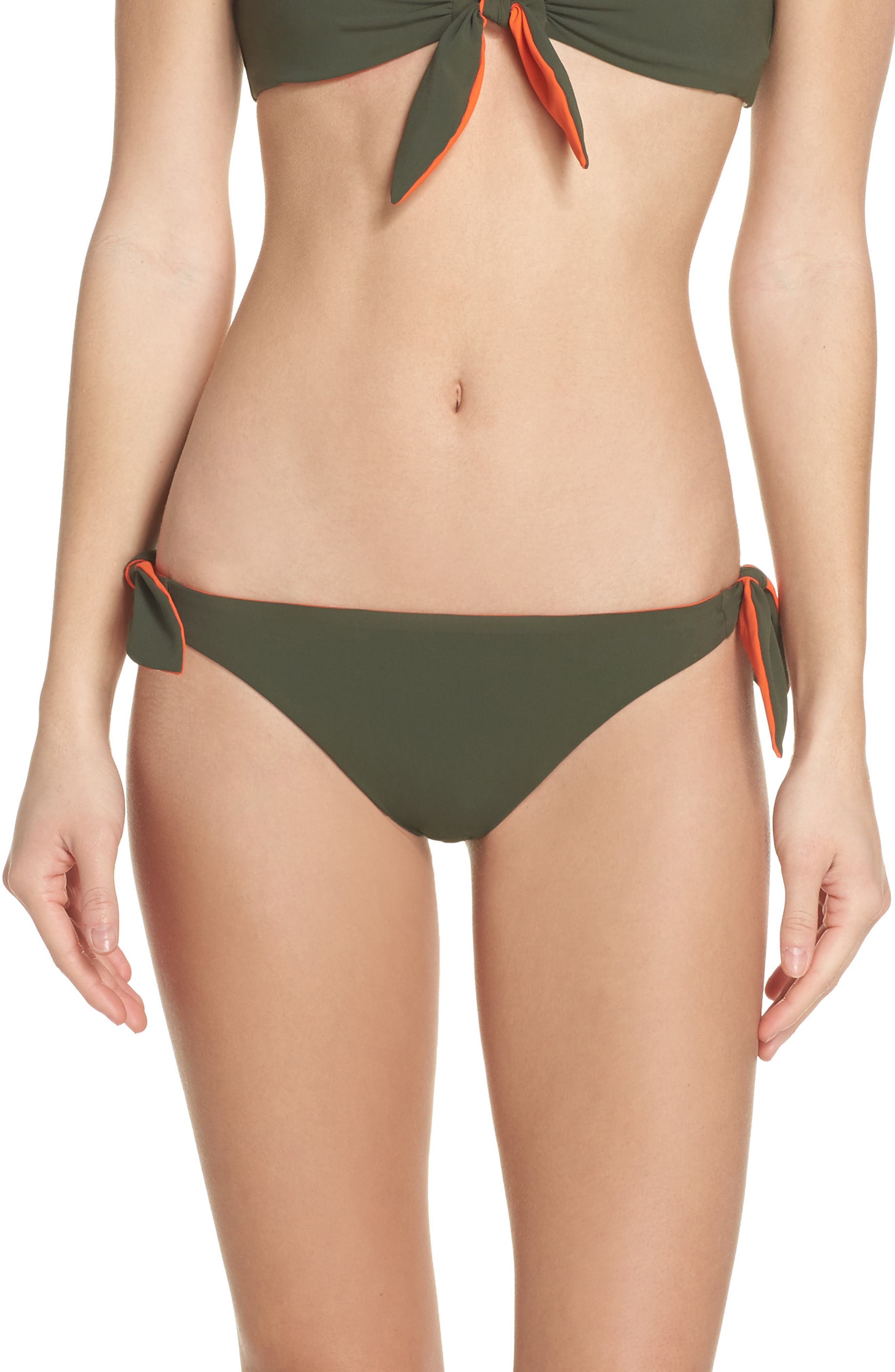 Biarritz Reversible Bikini Bottoms,                         Main,                         color, Green Olive/ Sweet Tangerine
