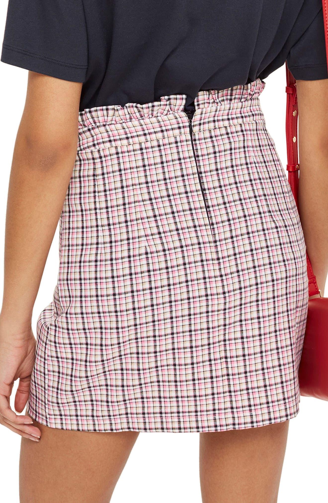 Pop Check Frill Waist Miniskirt,                             Alternate thumbnail 2, color,                             Pink Multi