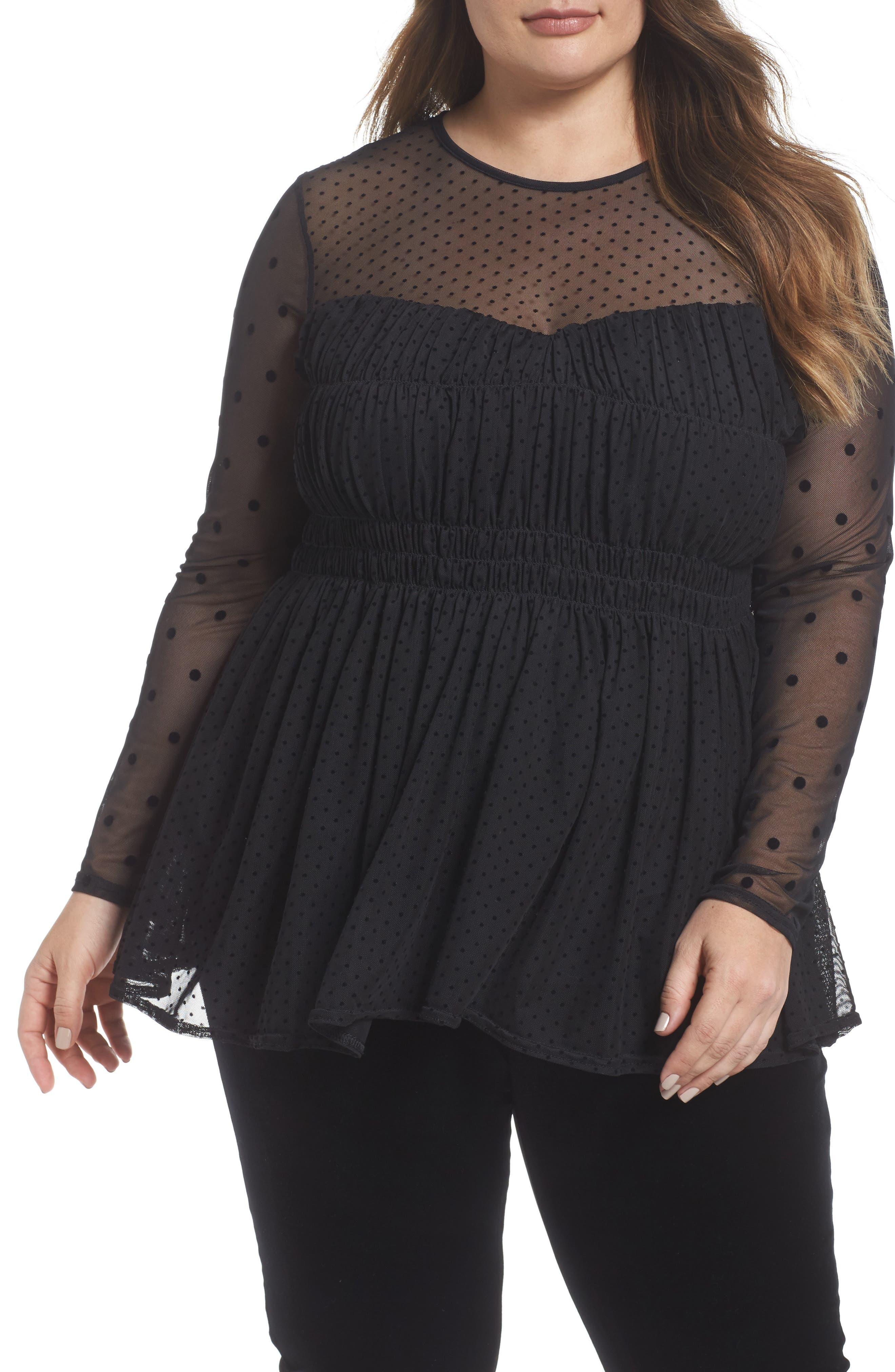 LOST INK Dobby Dot Sweetheart Mesh Top (Plus Size)