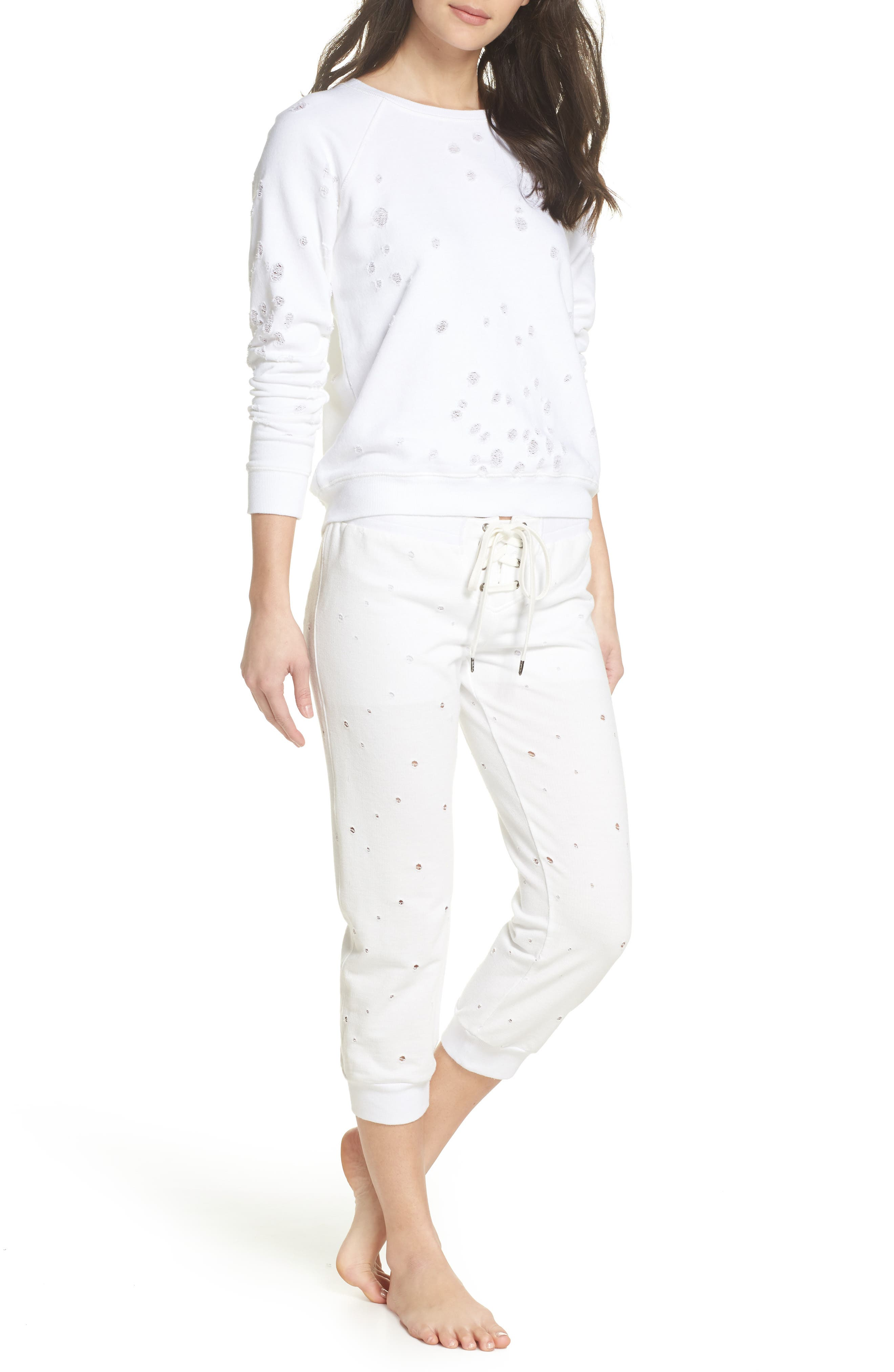 Distressed Crop Lounge Pants,                             Alternate thumbnail 5, color,                             White