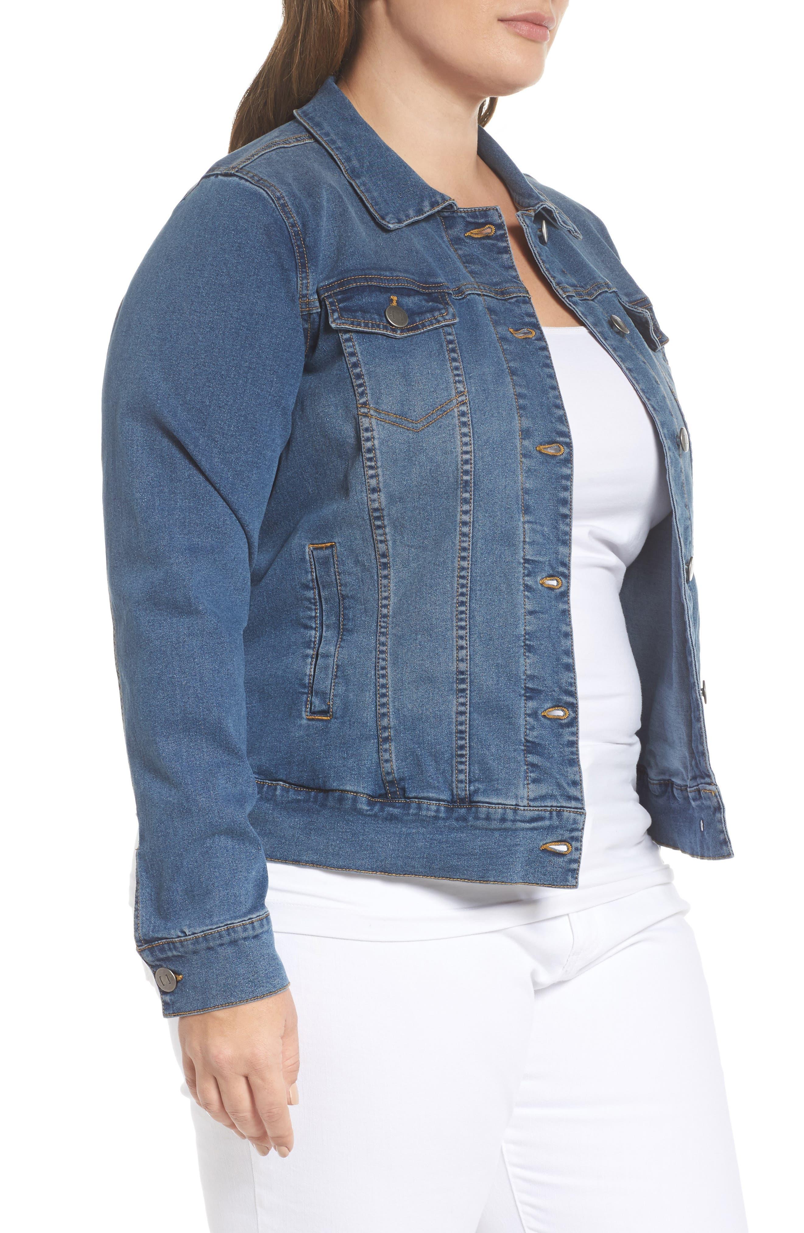 Alternate Image 4  - JUNAROSE Katla Denim Jacket (Plus Size)