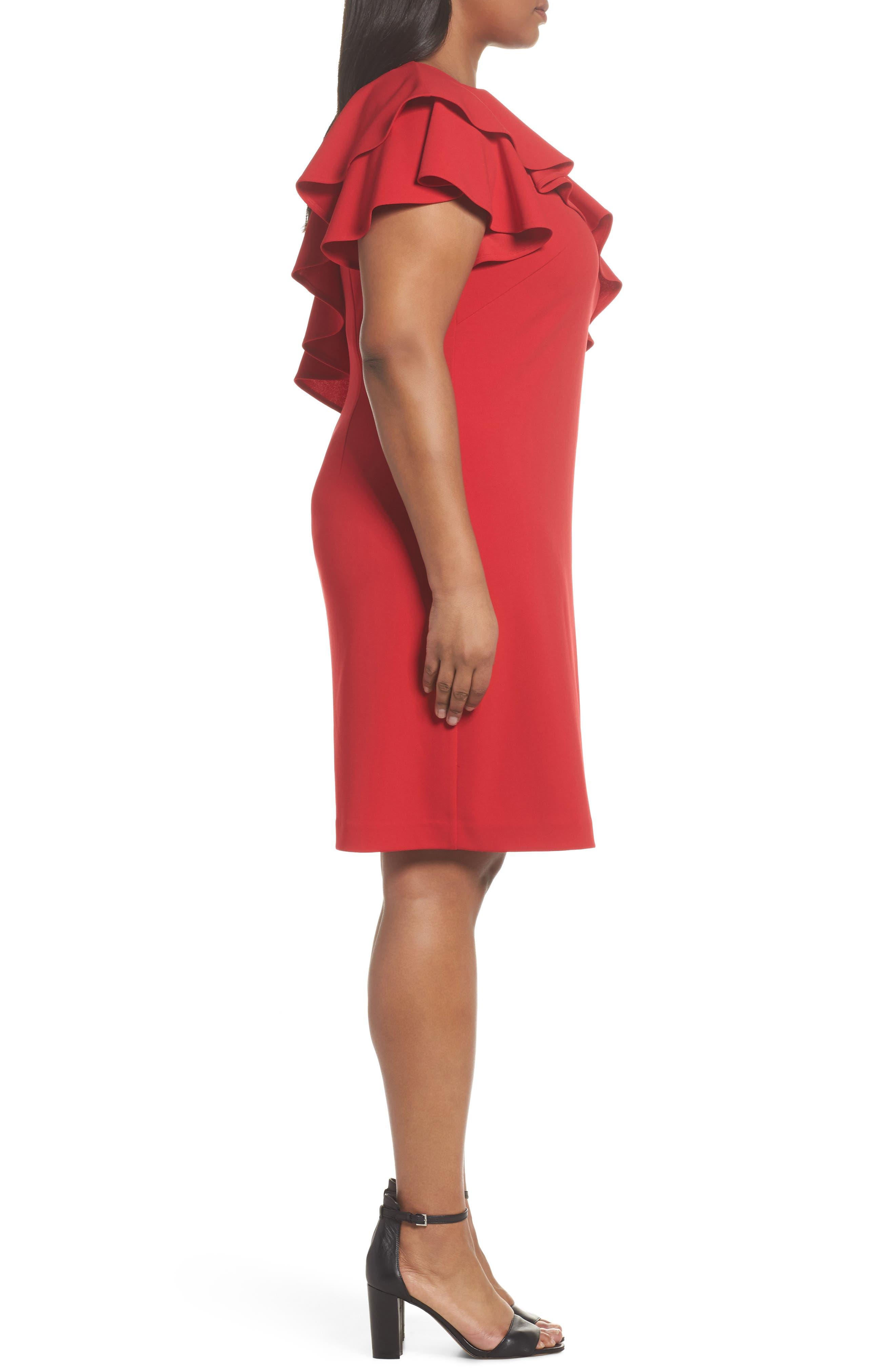 Ruffle One-Shoulder Scuba Body-Con Dress,                             Alternate thumbnail 3, color,                             Red