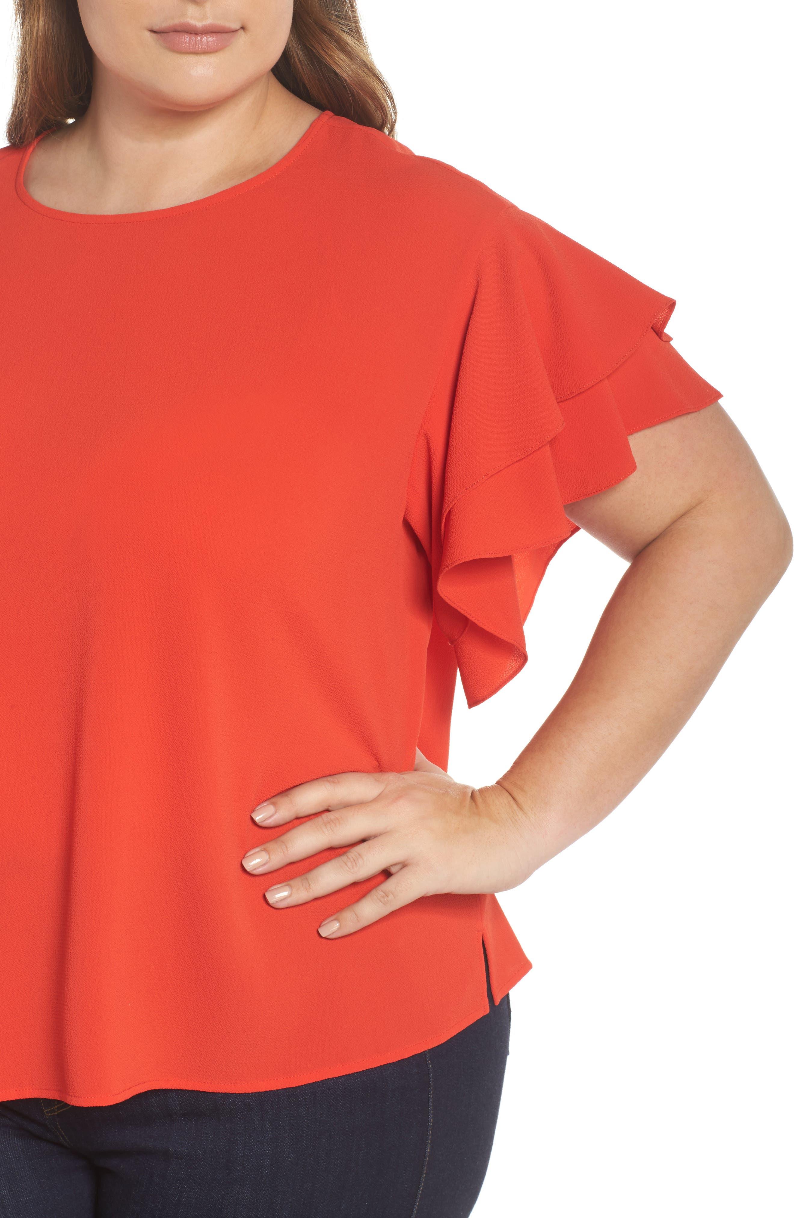 Tiered Ruffle Sleeve Top,                             Alternate thumbnail 4, color,                             Geranium