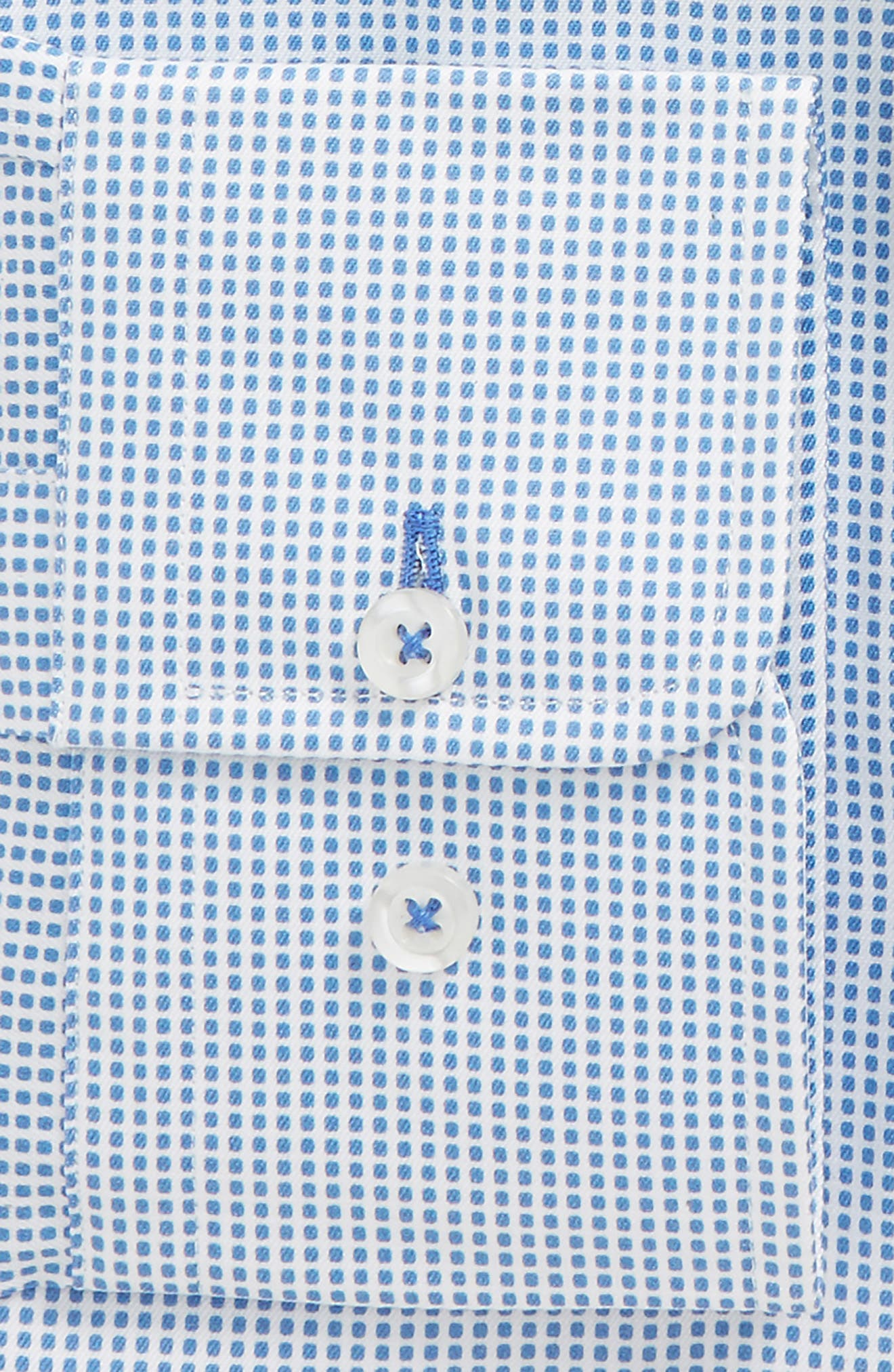 Regular Fit Dot Dress Shirt,                             Alternate thumbnail 2, color,                             White/ Blue