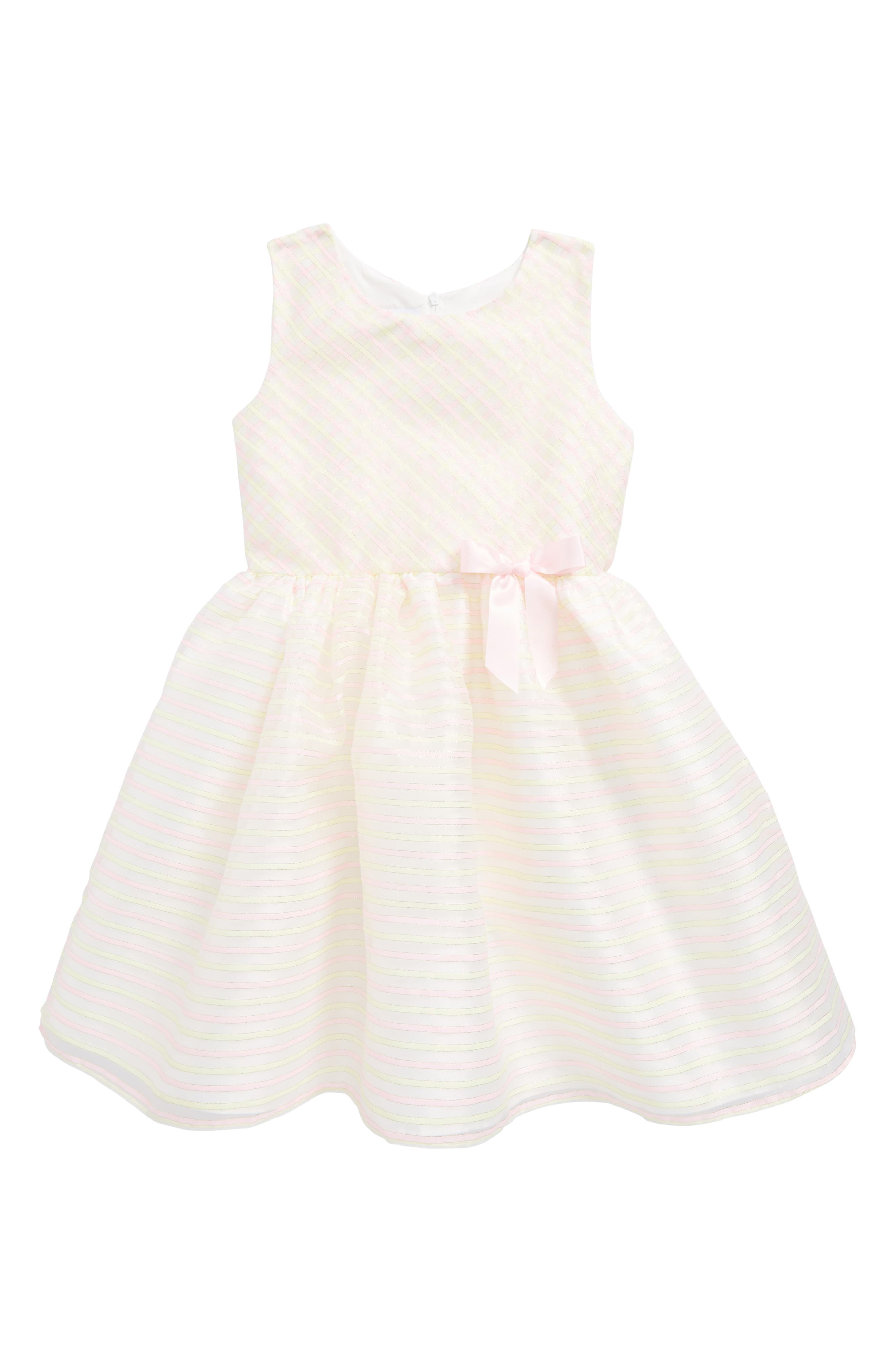 Stripe Sleeveless Dress,                         Main,                         color, Yellow/ Pink