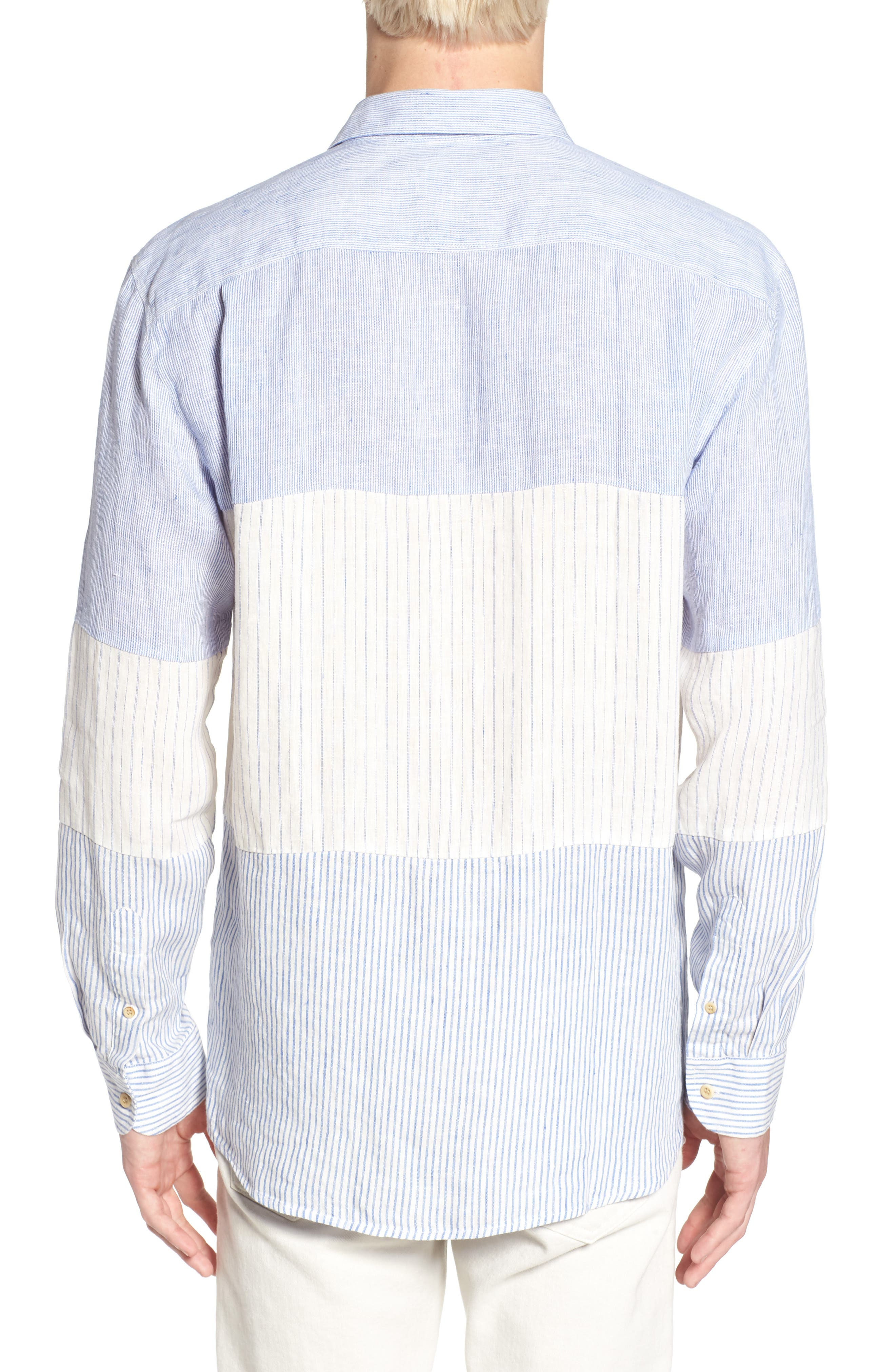 Relaxed Fit Stripe Linen & Cotton Sport Shirt,                             Alternate thumbnail 3, color,                             Rich Blue Stripes