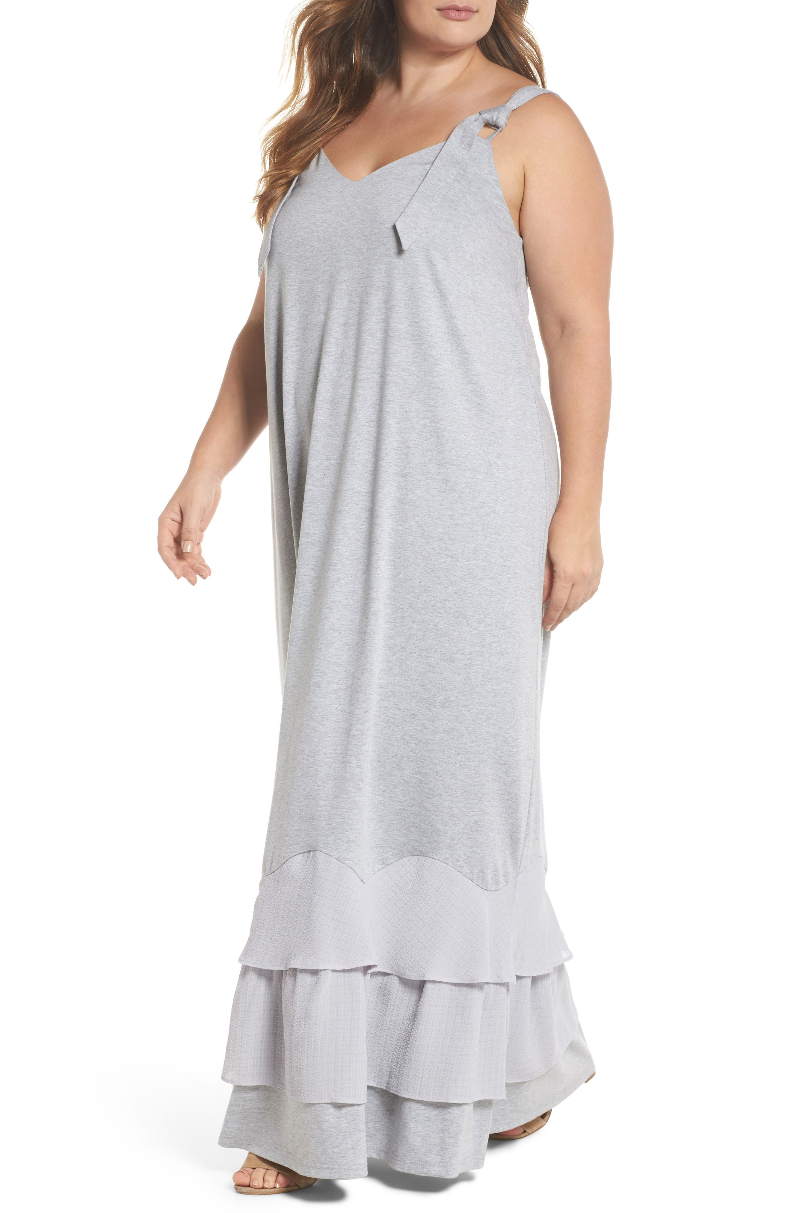 LOST INK Ruffle Hem Jersey Maxi Dress (Plus Size)