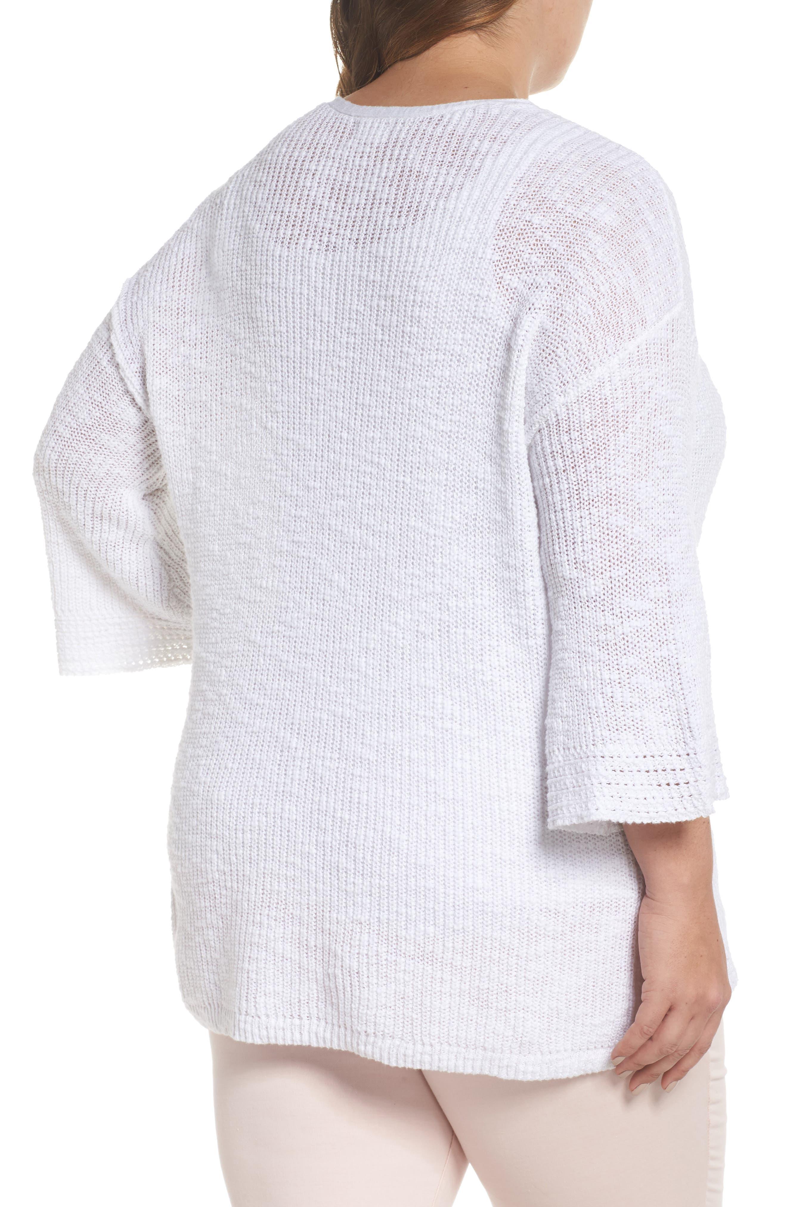 Hidden Snap V-Neck Sweater,                             Alternate thumbnail 2, color,                             White