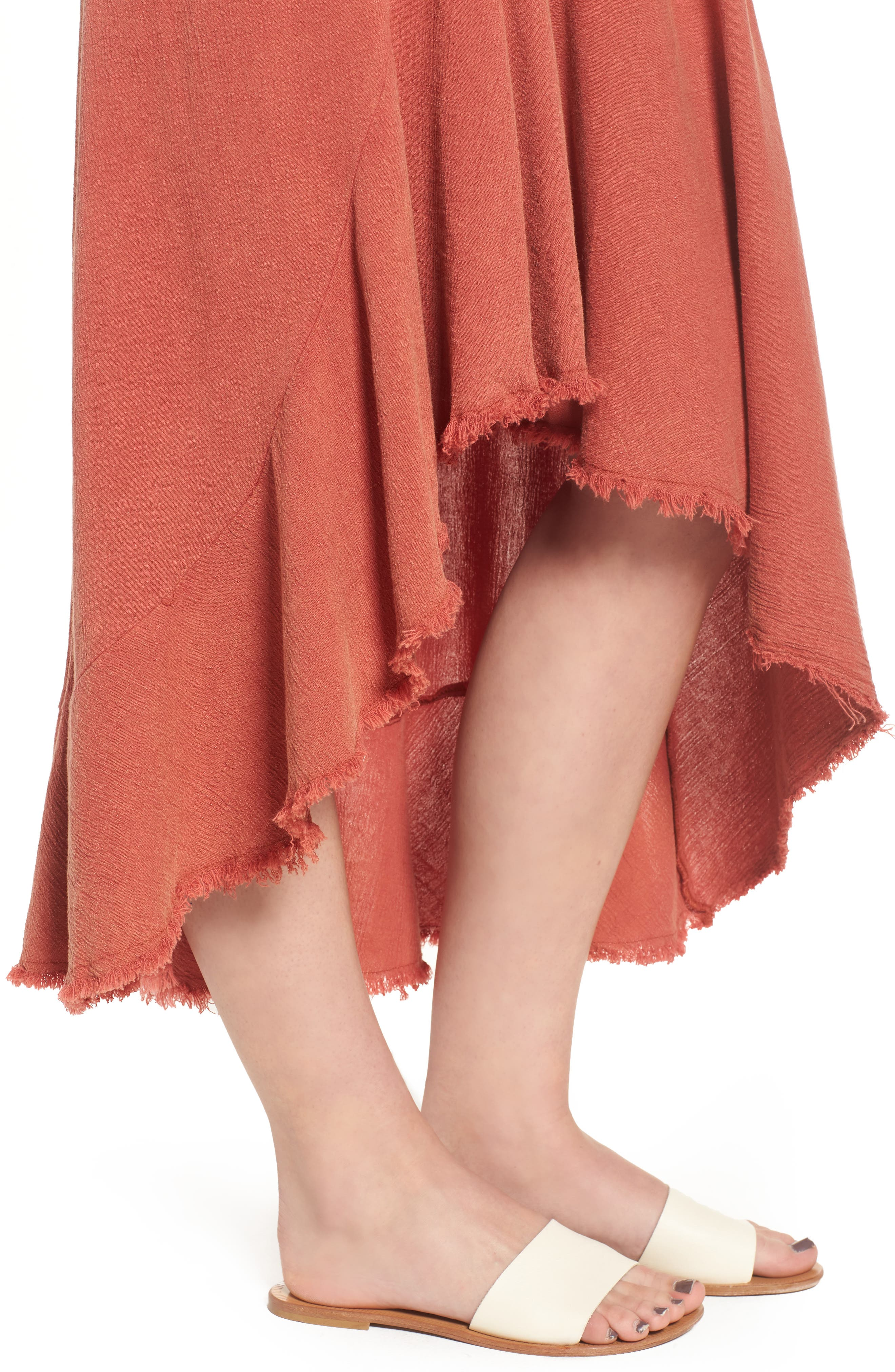 Meet Me in Dreams Flutter Hem Dress,                             Alternate thumbnail 5, color,                             Burnt Orange